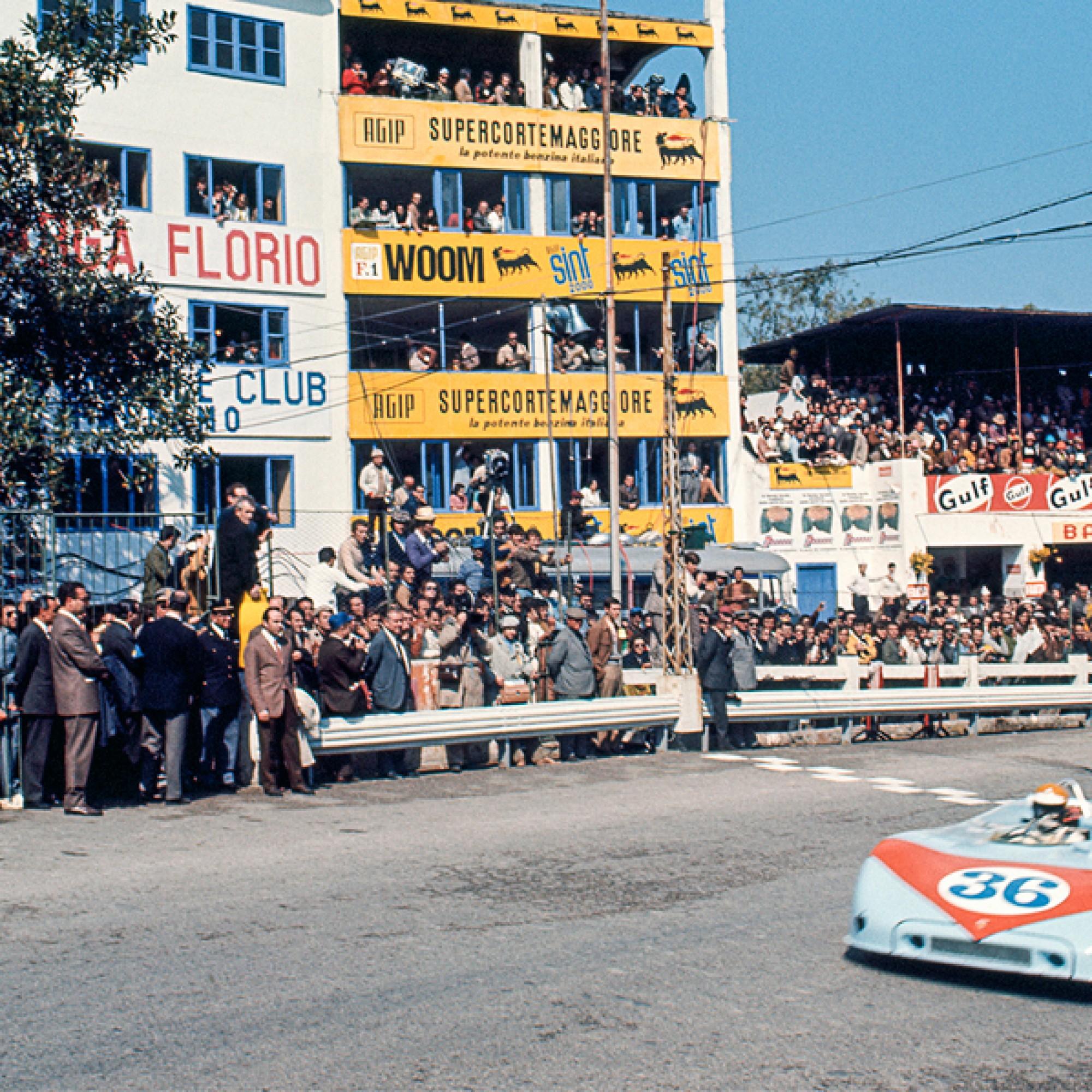 Björn Waldegård im Porsche 908/03 an der Targa Florio 1970 in Sizilien. Foto: Tony Triolo.  (motorsportfriends.ch, Museum im Bellpark)