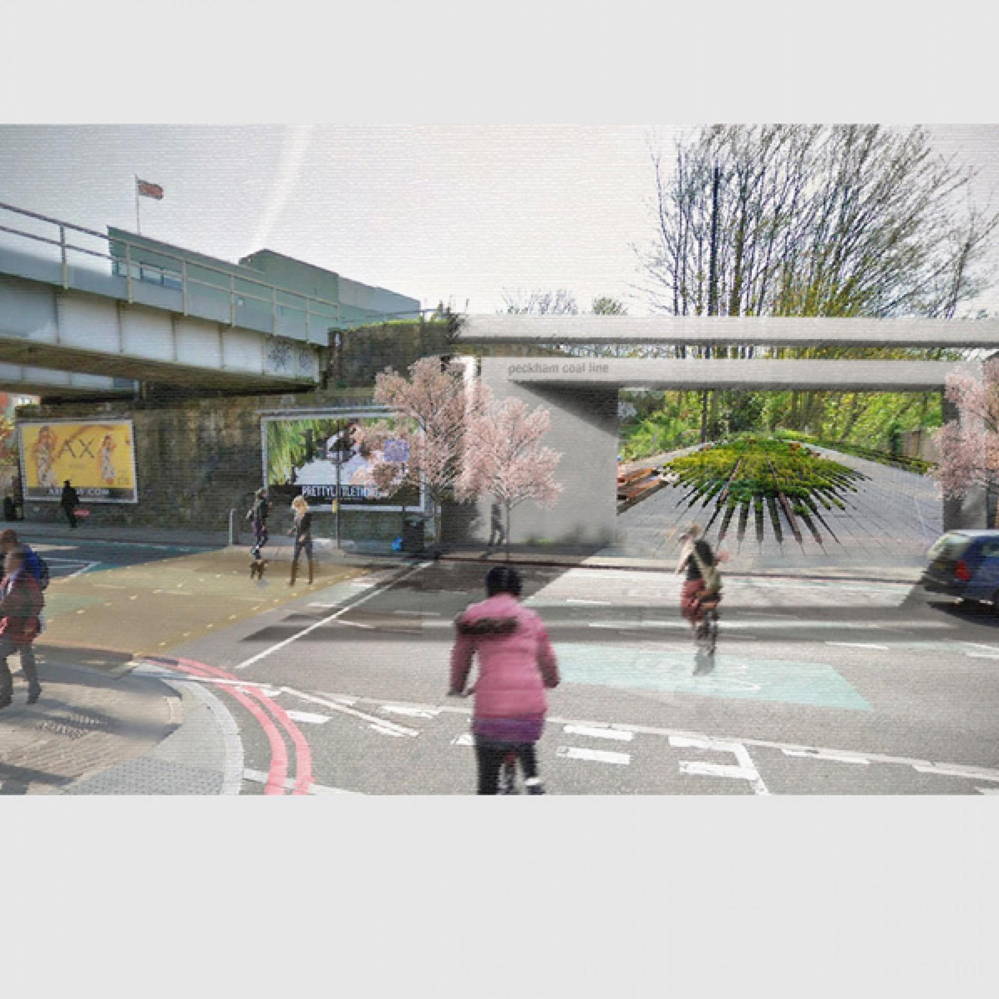 Keine Grüne Lungs sondern eher eine grüne Ader:  So könnte es beim Eingang der Londoner High Line aussehen. (zvg)