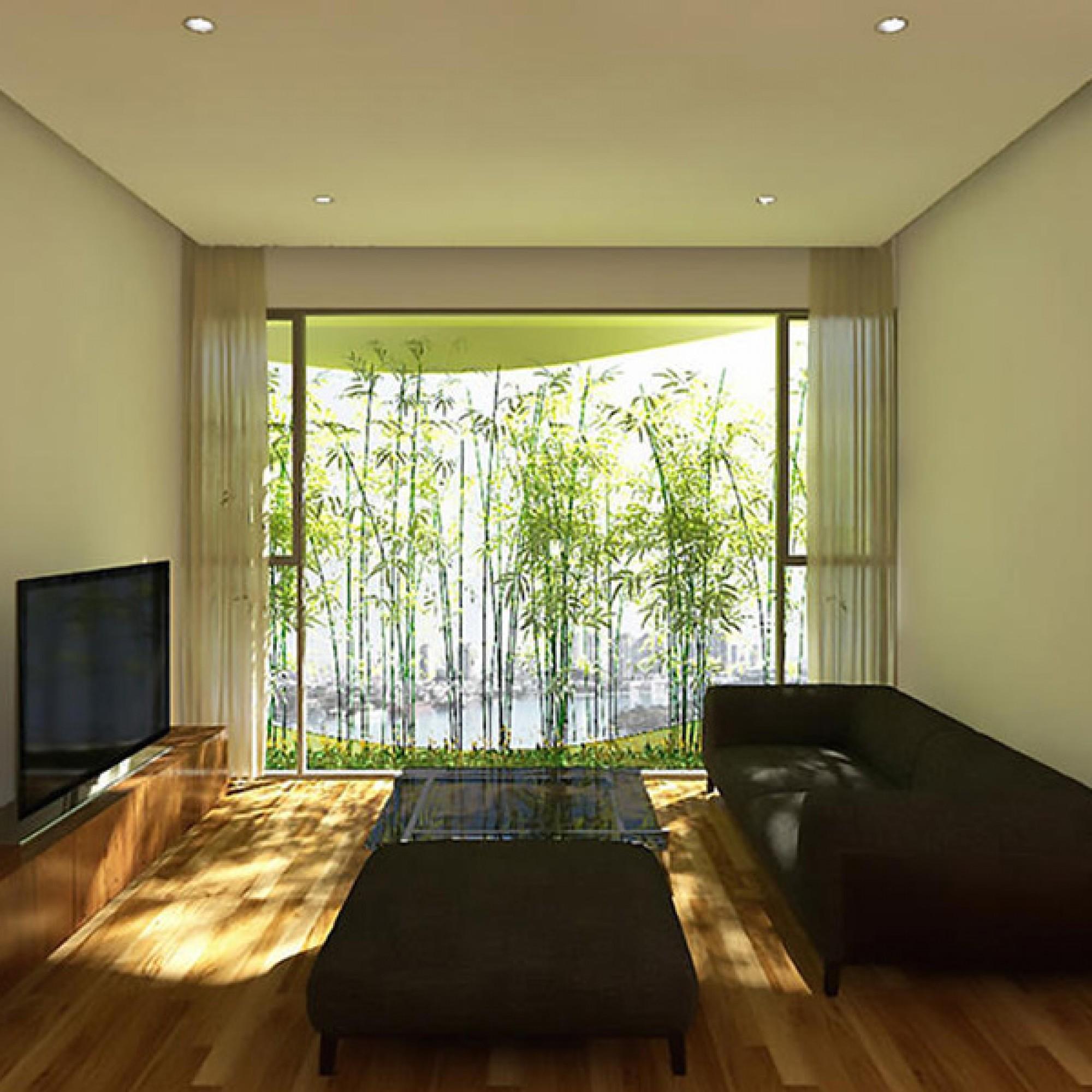Die Wohnungen von innen: Bambuspflanzen vor den Fenstern sorgen für Schatten.
