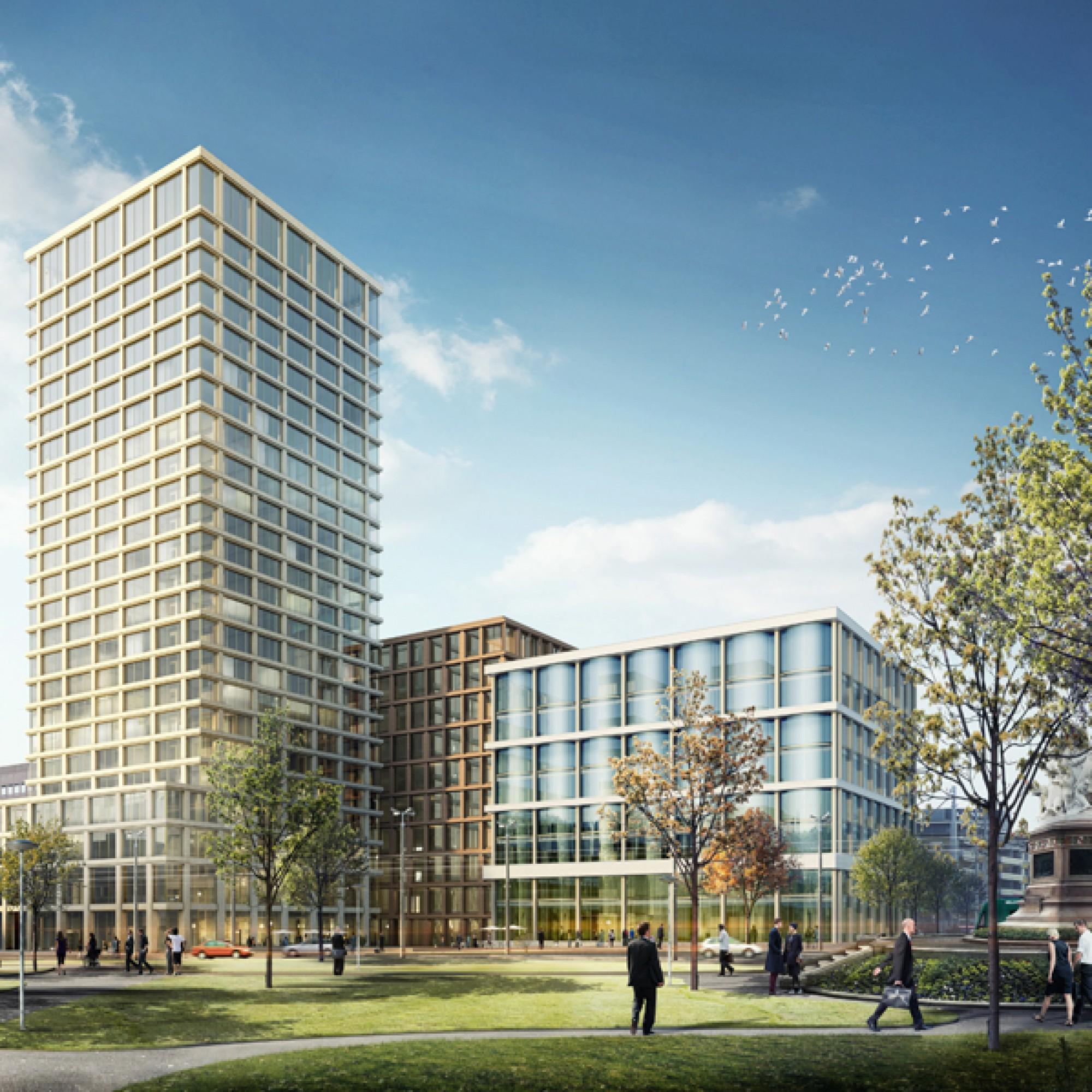 Ein Dreigestirn: Links der Turm von Miller & Maranta, in der Mitte das Bürogebäude von Valerio Olgiatti und rechts aussen der neuen Hauptsitz der Baloise aus der Feder von Diener & Diener. (zvg)