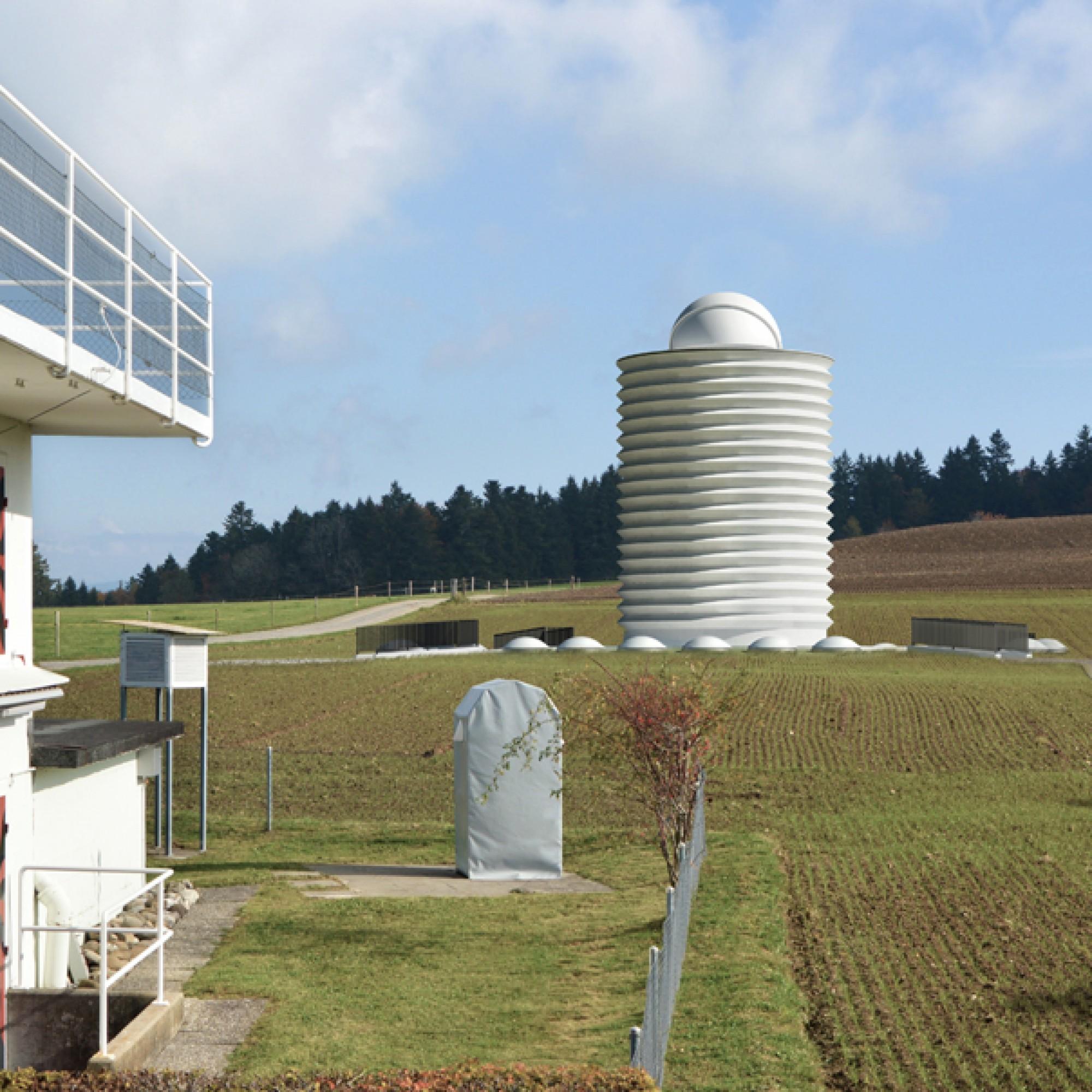Die Sternwarte soll in der Nähe des alten Observatoriums zu stehen kommen. (Visualisierung zvg) 1/4