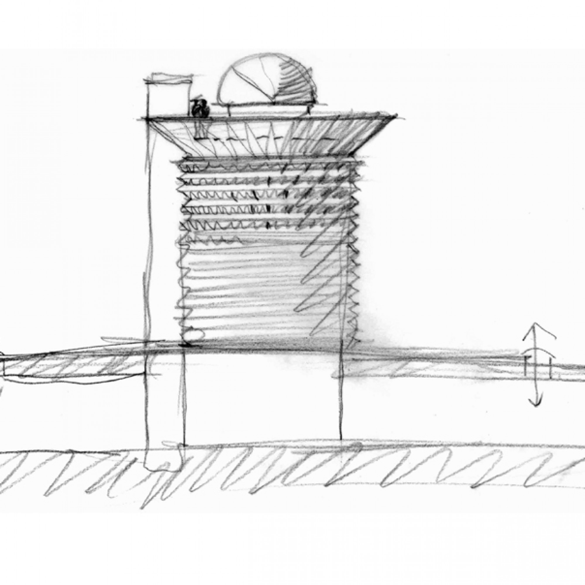 Skizze der Sternwarte von Mario Botta. Das Observatorium einmal von der Seite... (zvg)