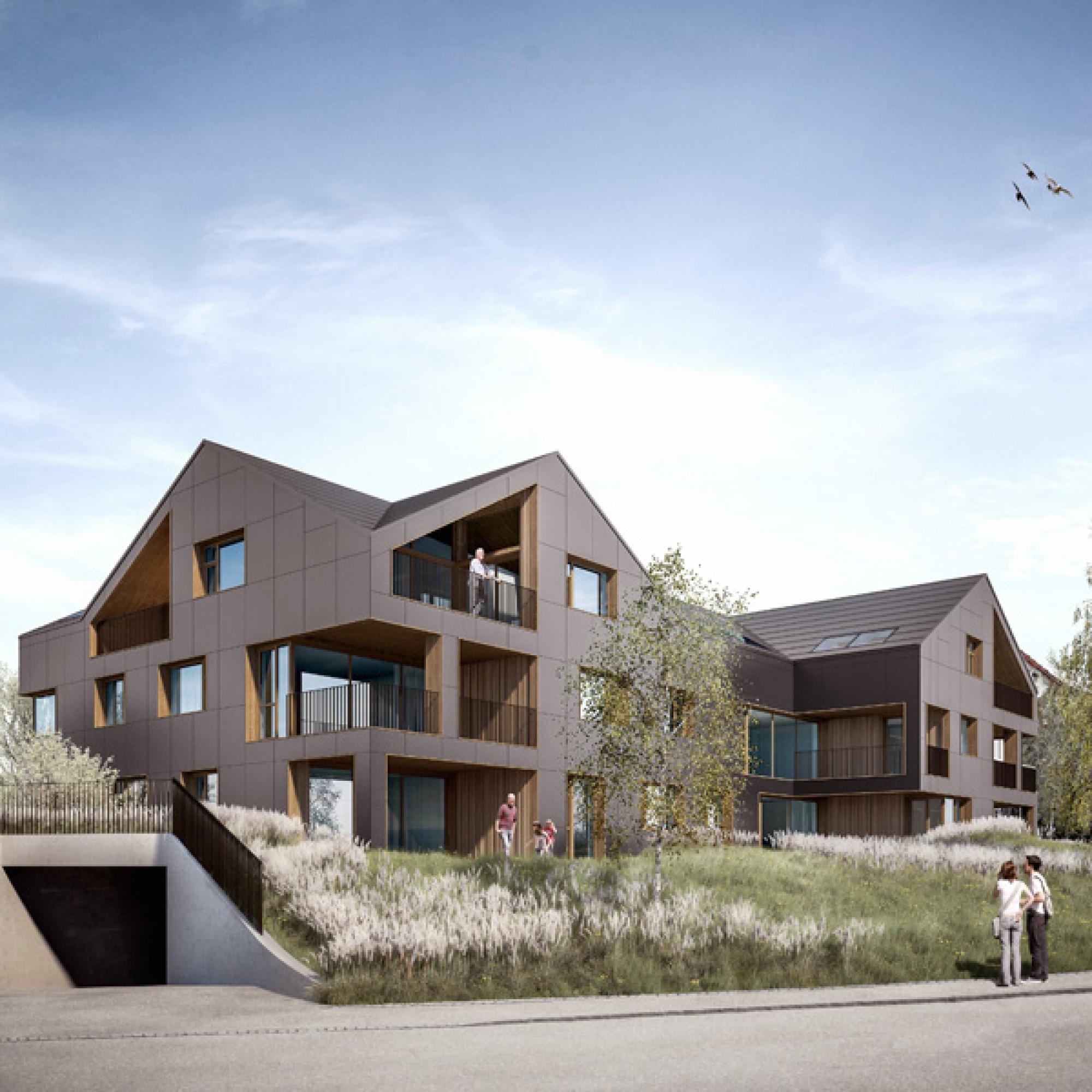 So soll das energieautarke Mehrfamilienhaus aussehen (Visualisiierungen zvg)