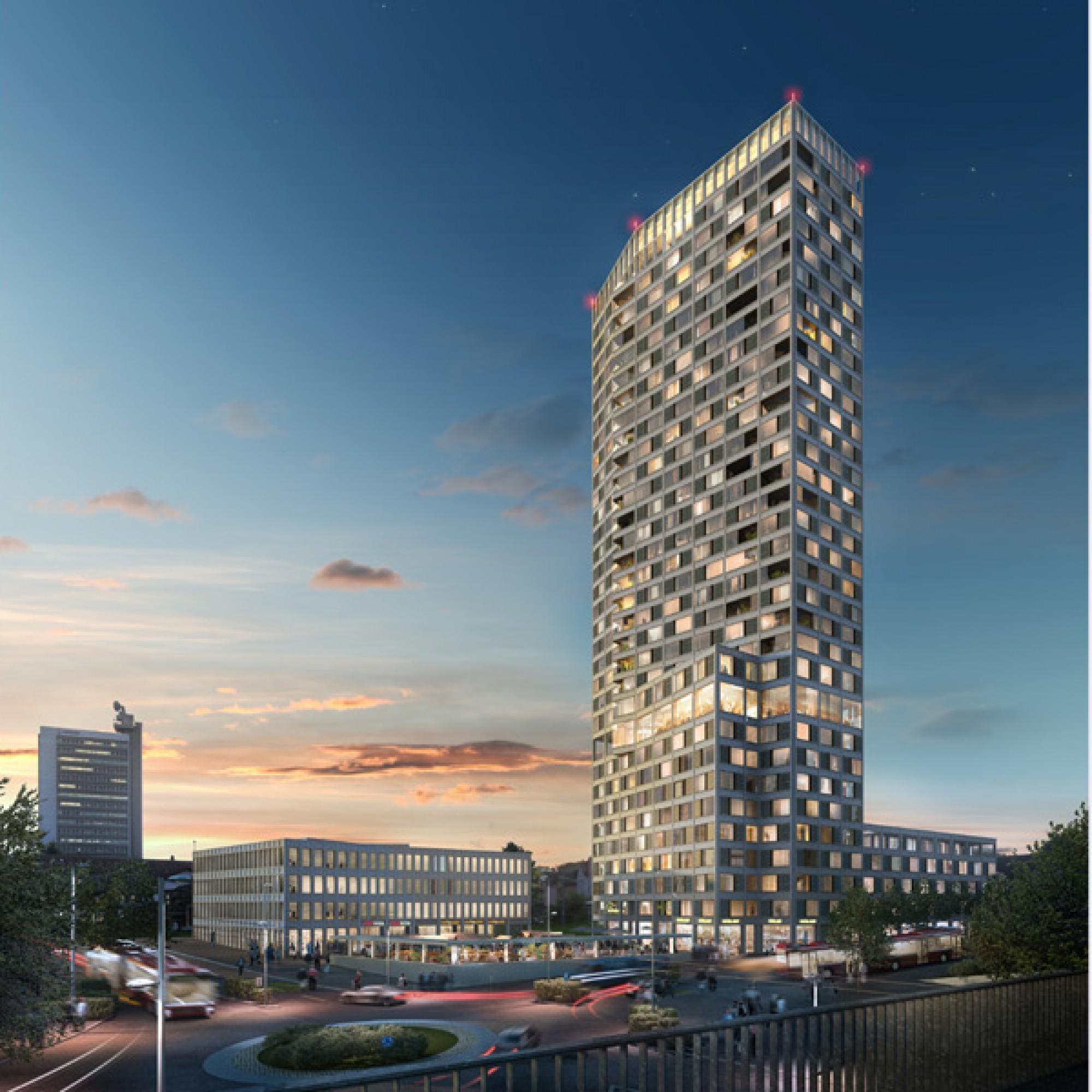 Das Ostermundiger Hochhaus soll das neue Wahrzeichen der Agglomerationsgemeinde werden und auf die ganze Region ausstrahlen. (Visualisierungen zvg)