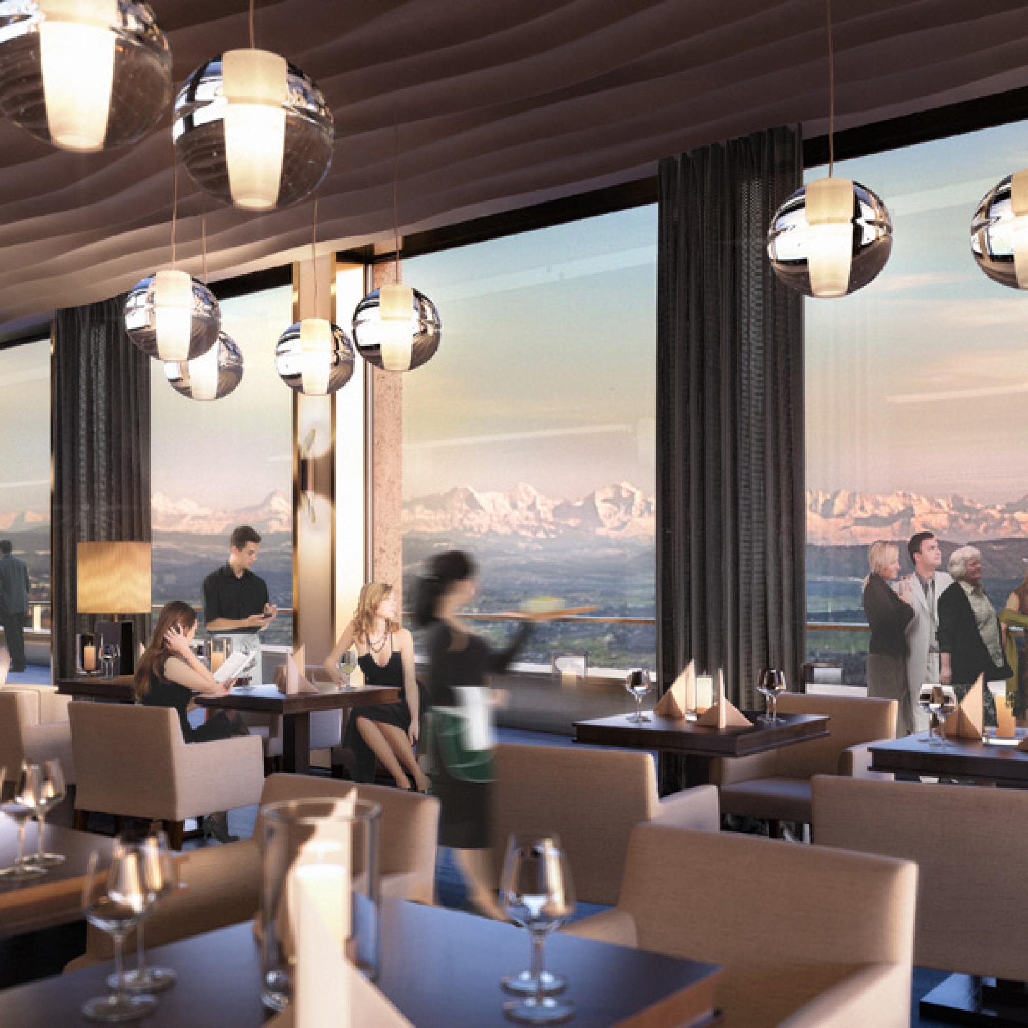So soll das Panoramarestaurant im zehnten Stock des Bärenturms aussehen.