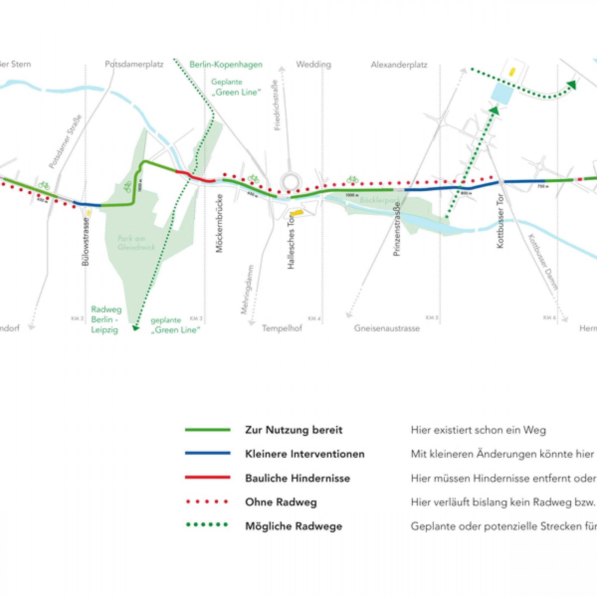 Der geplante Streckenverlauf des Berliner Radwegs (Illustrationen zvg)