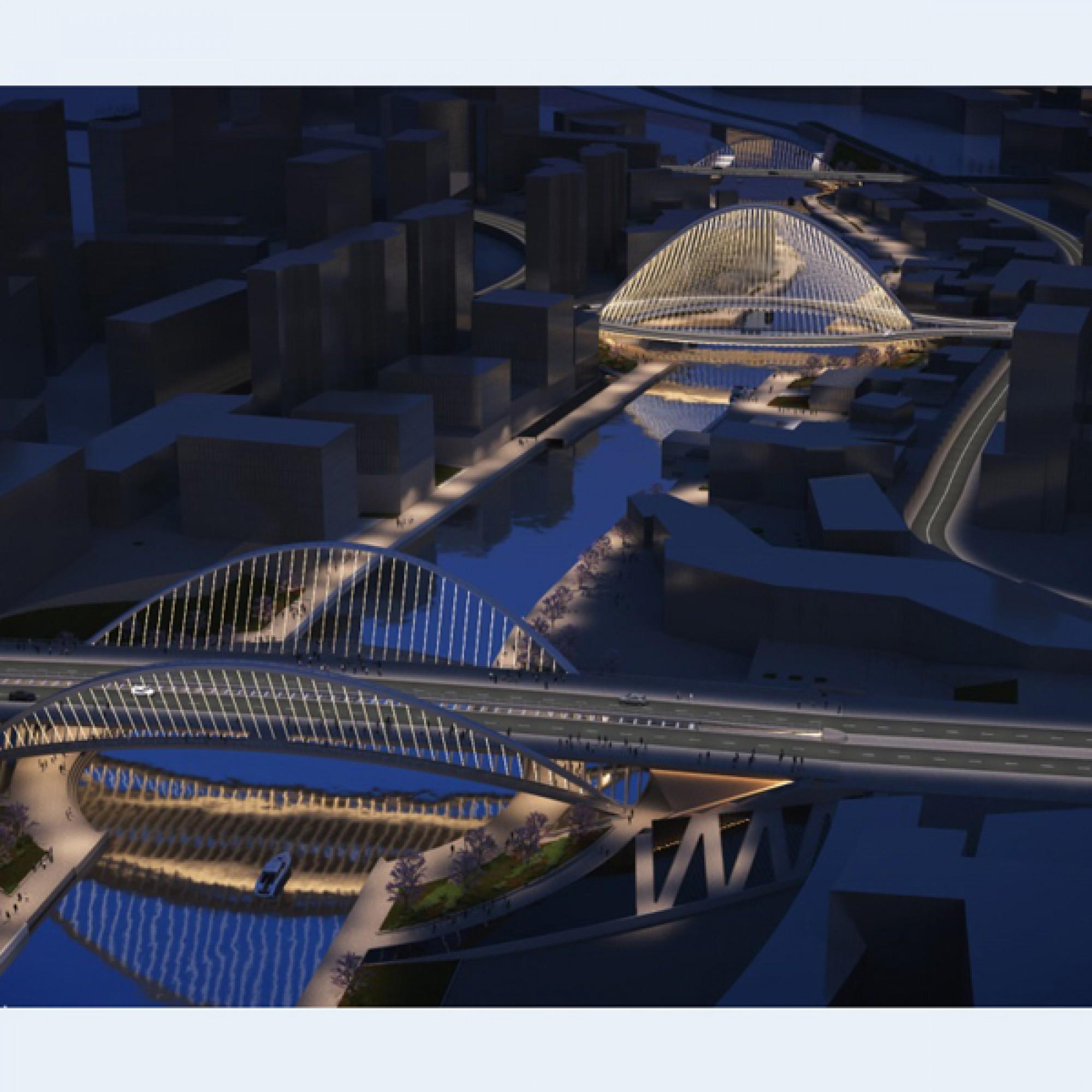 Das Brücken-Ensemble bei Nacht (Bilder: Santiago Calatrava LLC)       1/6