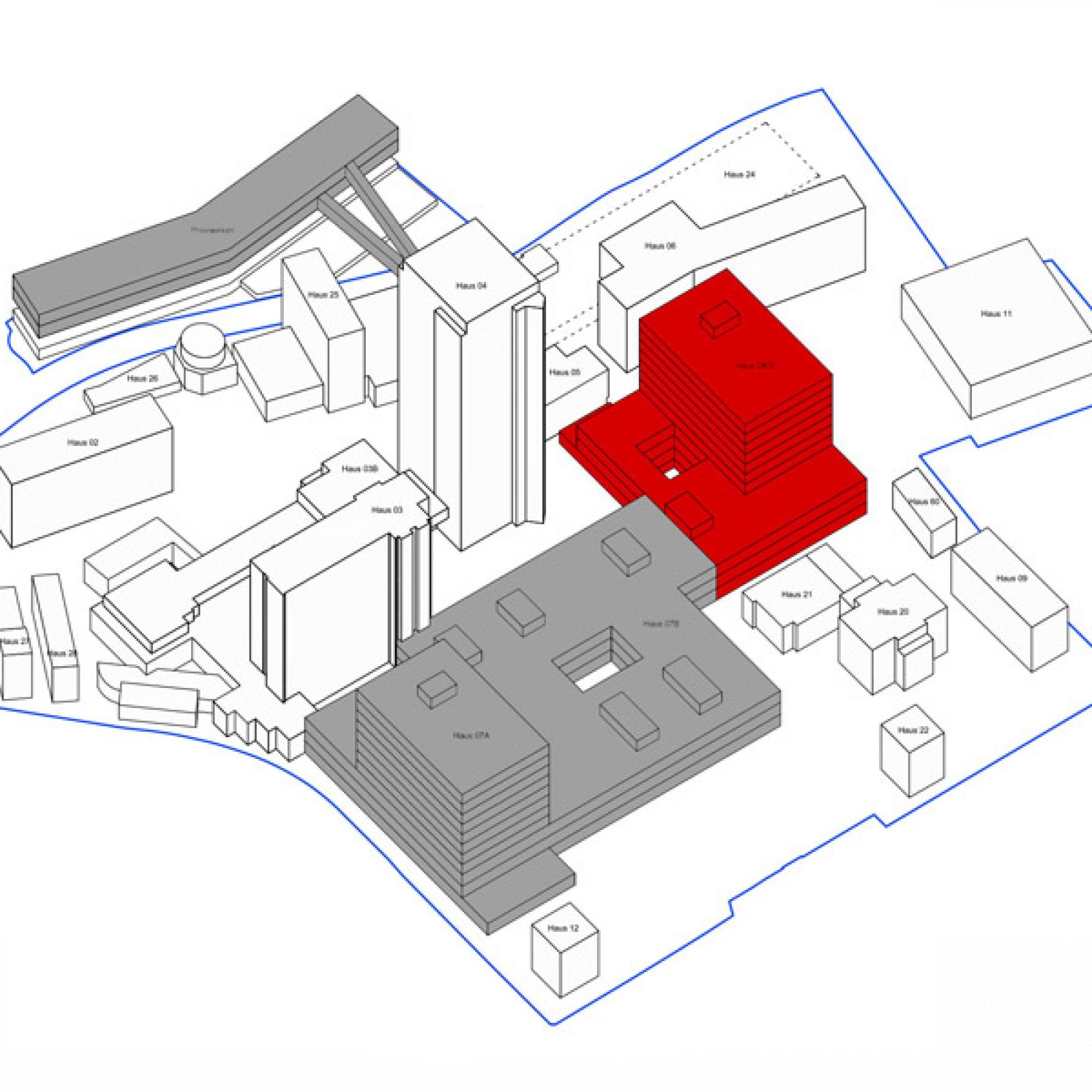 Die Isometrie nach Abschluss aller Bauarbeiten: Der Ersatzneubau (oben links) ist via Passerellen mit dem übrigen Gelände verbunden. Neu sind auch die Häuser 07A und 07B (grau) sowie das Ostschweizer Kinderspital (rot). (zvg)