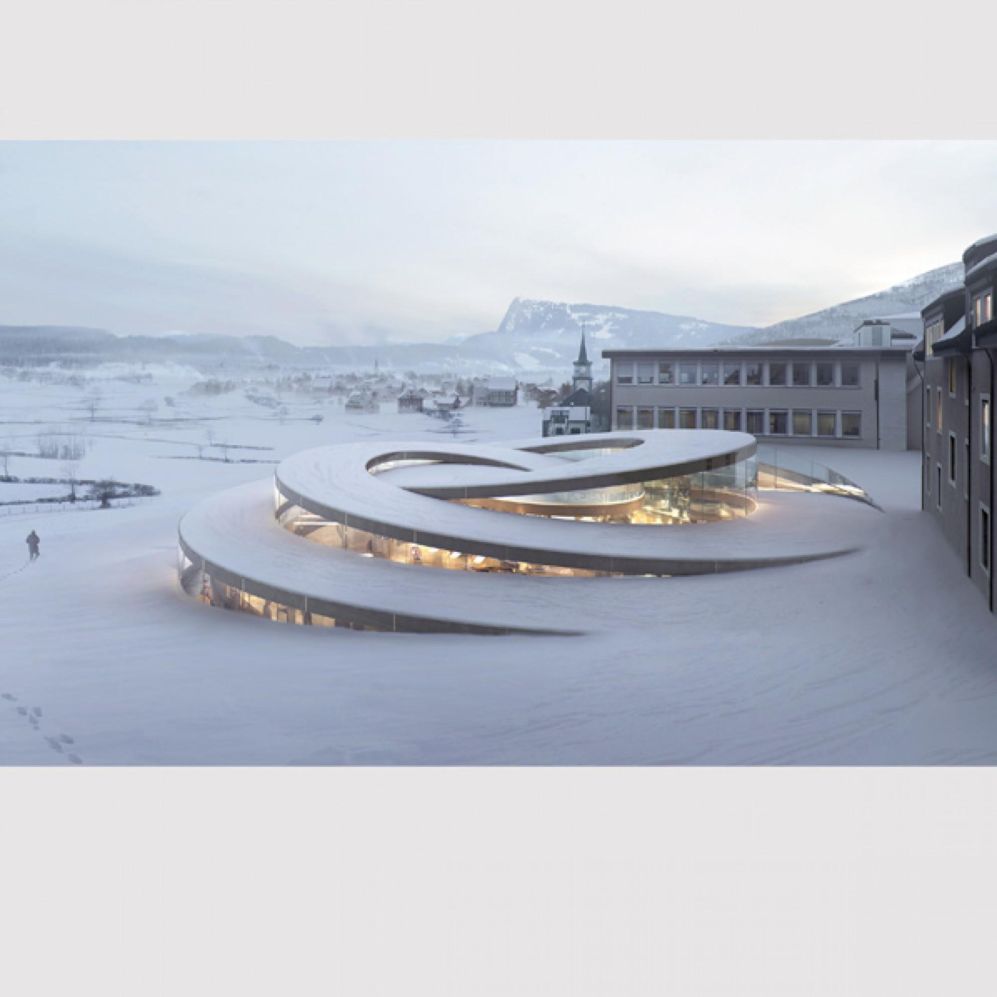 Bjarke Ingels entwarf in der Schweiz das Audemars Piguet Museum in Le Brassus VD.  (Visualisierung BIG / PD)