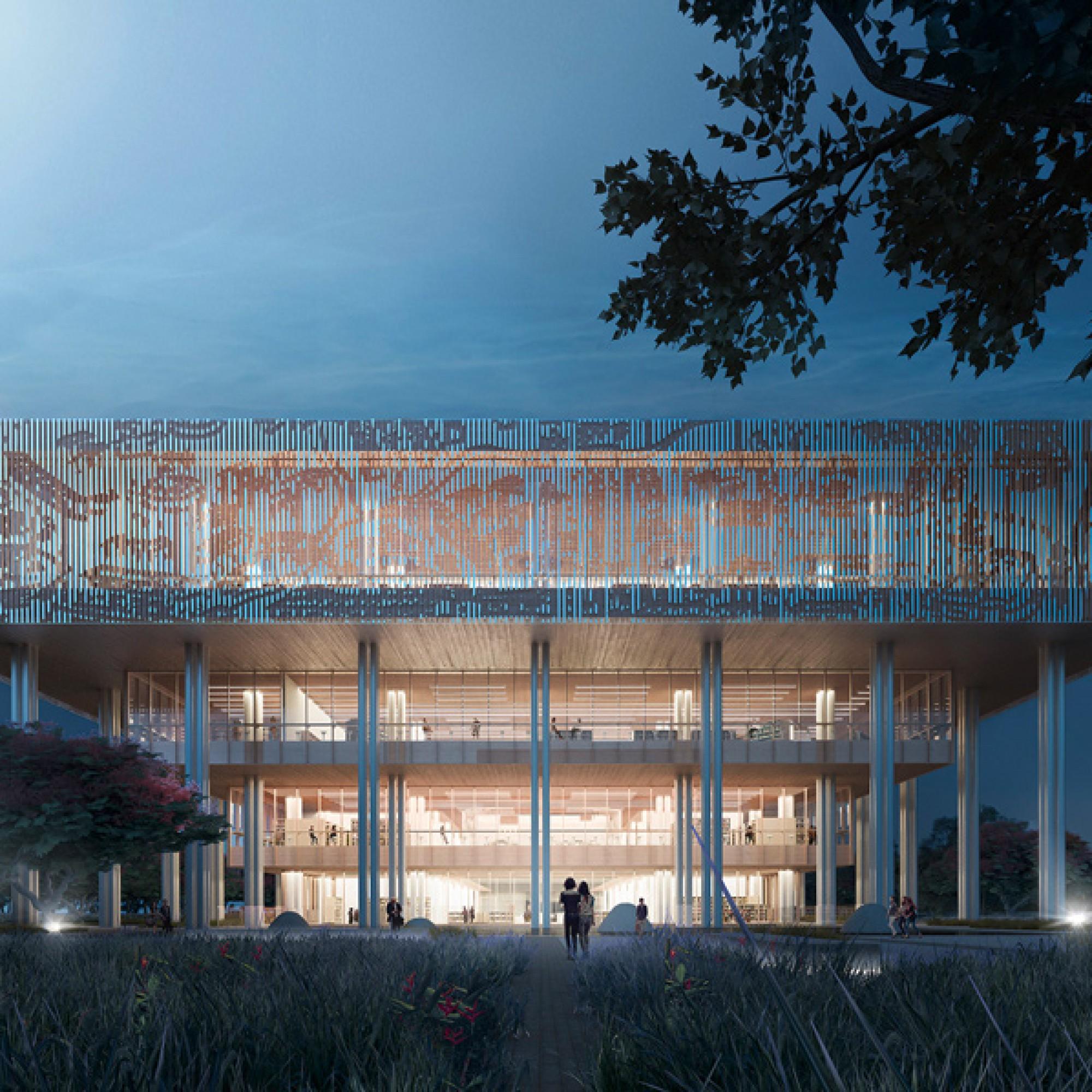 Je nach Lichteinfall ist der historische, stilisierte Stadtplan im oberen Bereich der Fassade... (zvg) 1/4