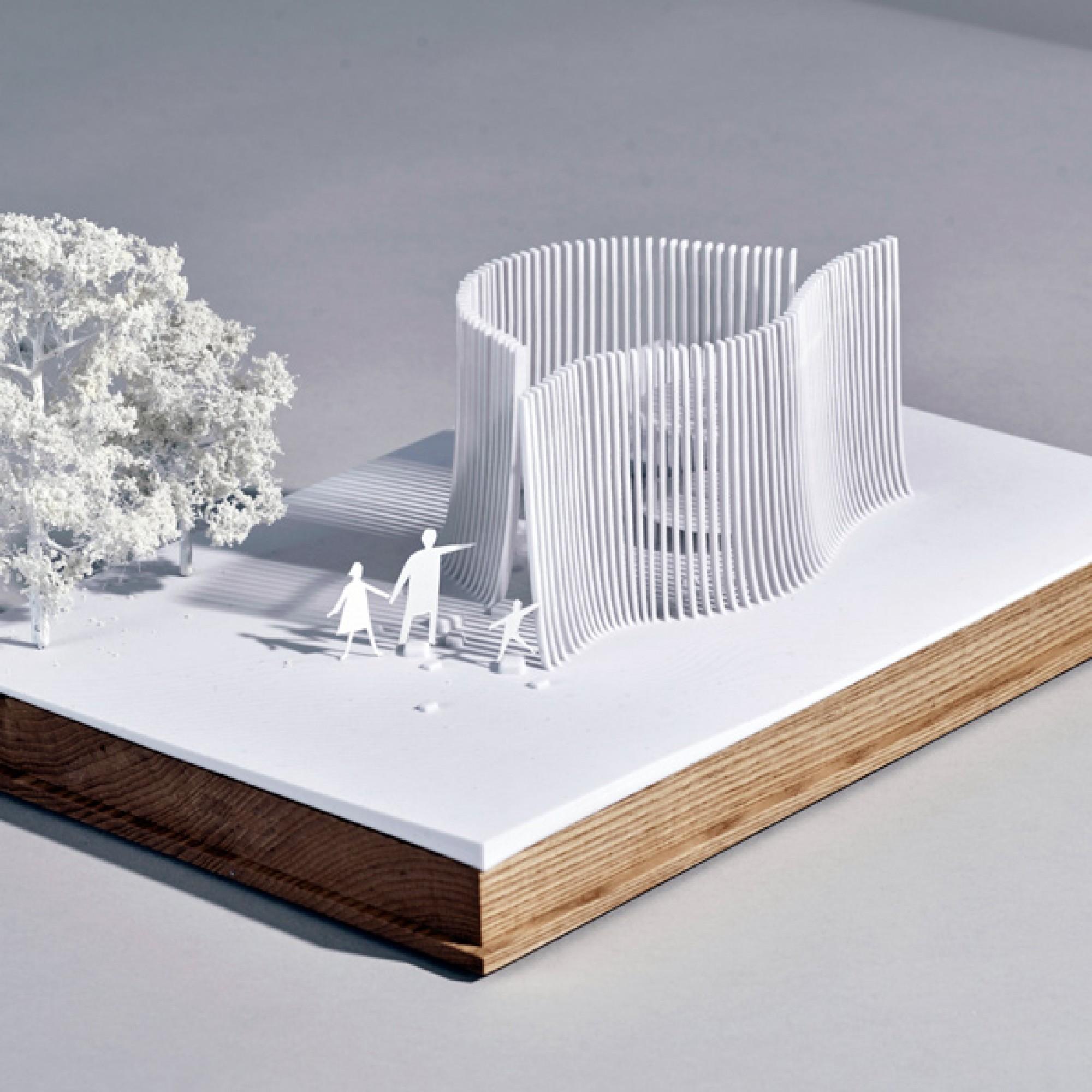 Asif Kahn setzt bei seinem Entwurf ebenfalls auf Schattenspiel, allerdings mit Lamellen statt Rahmen. (Asif Khan)