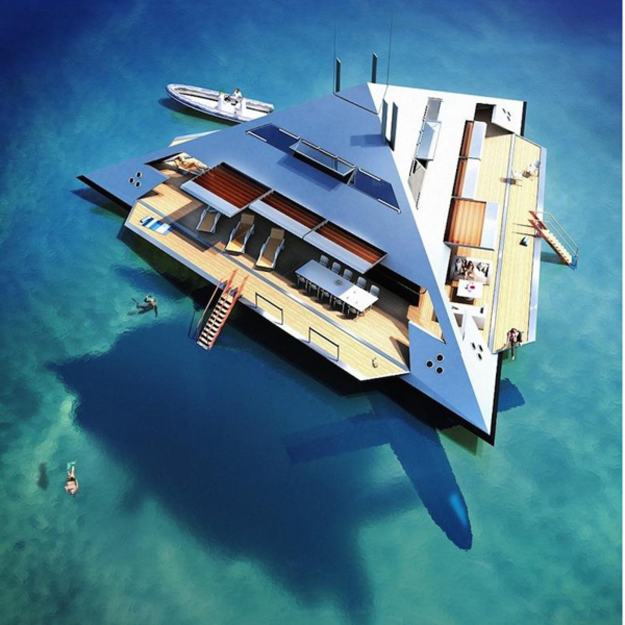 """Dank heruntergeklappter Seitenwände wird aus der Yacht ein """"Strandhaus""""."""