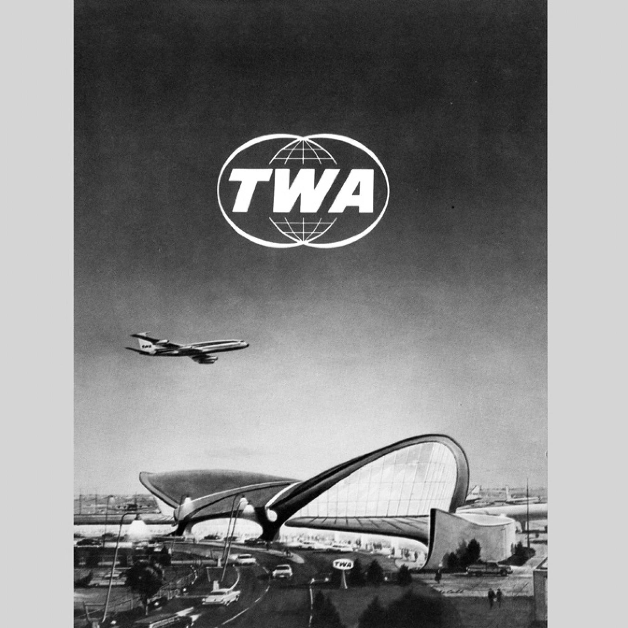 Umschlag für eine Speisekarte, TWA, circa 1962 © Illustrator ubk. / Sammlung Kornel Ringli