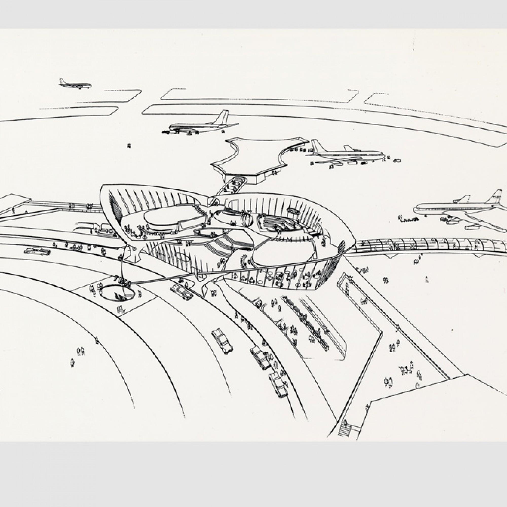 Erster Entwurf von ES&A für das Terminal © Eero Saarinen Collection (MS 593). Manuscripts and Archives, Yale University Library