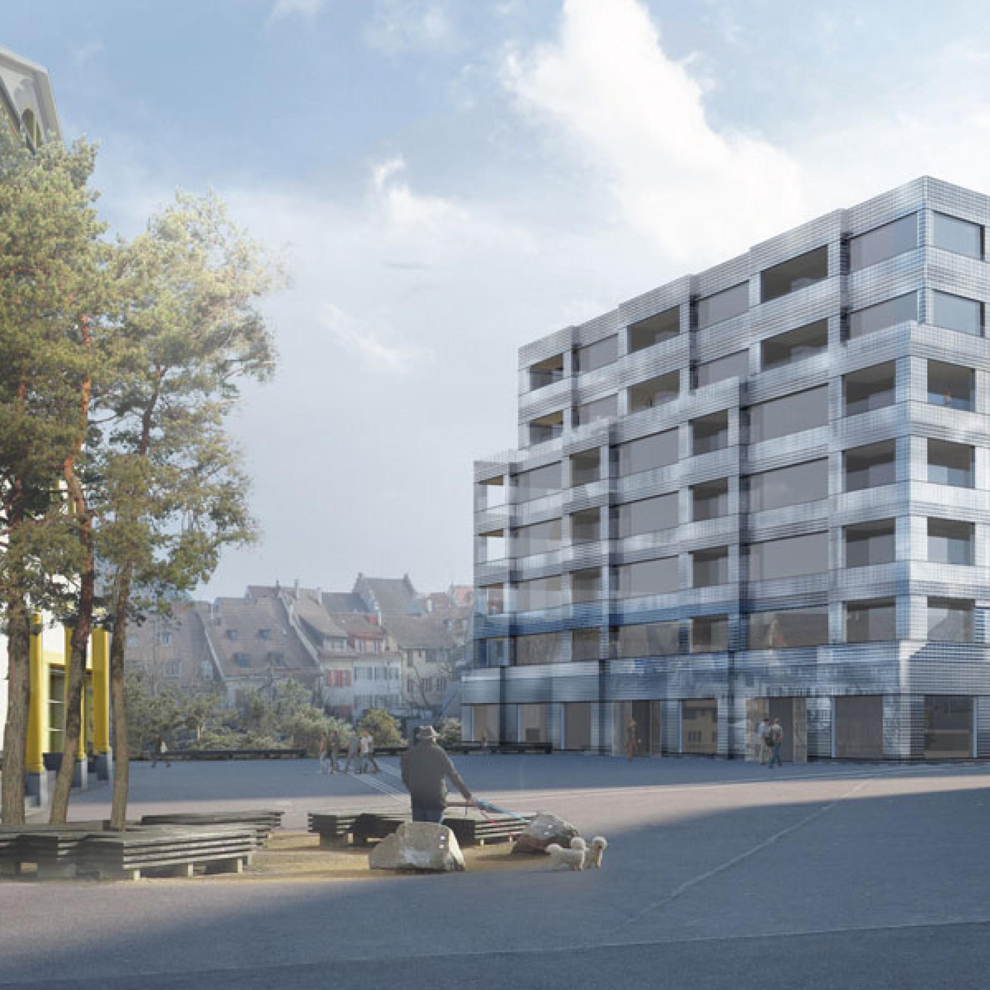 Visualisierung des neuen Gebäudes am Postplatz (Christ & Gantenbein Architekten)
