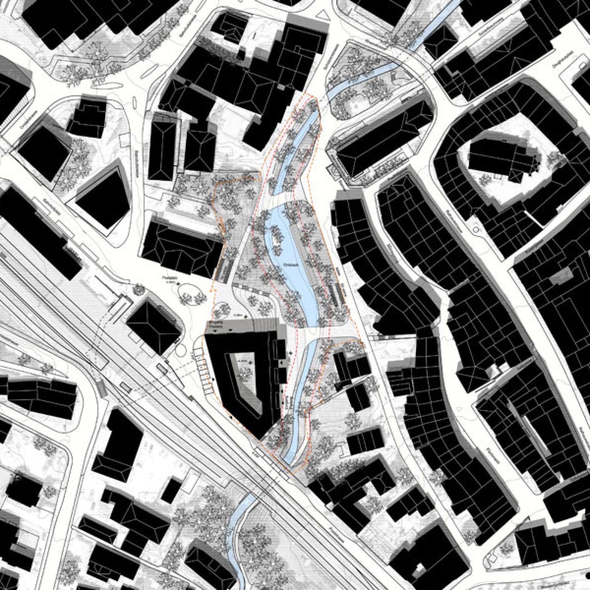 Situationsplan mit fünfeckigem Neubau am Postplatz Liestal (Christ & Gantenbein Architekten)