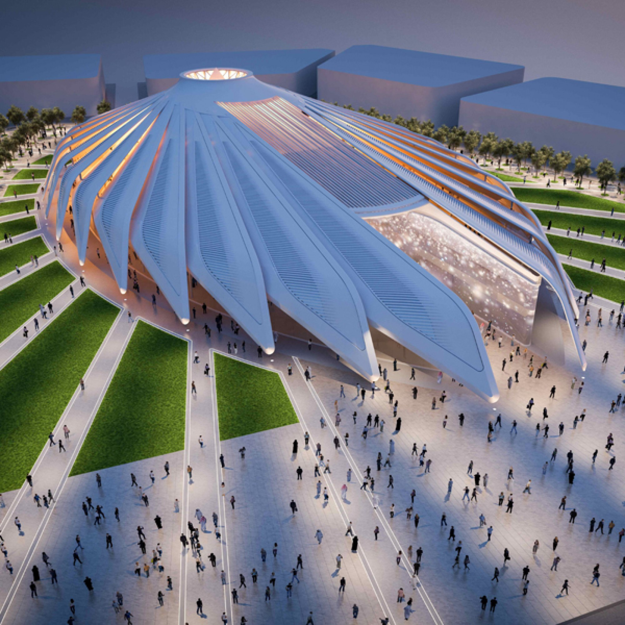 So sieht der Expo-Pavillon der VAE aus (Visualisierungen: Santiago Calatrava)