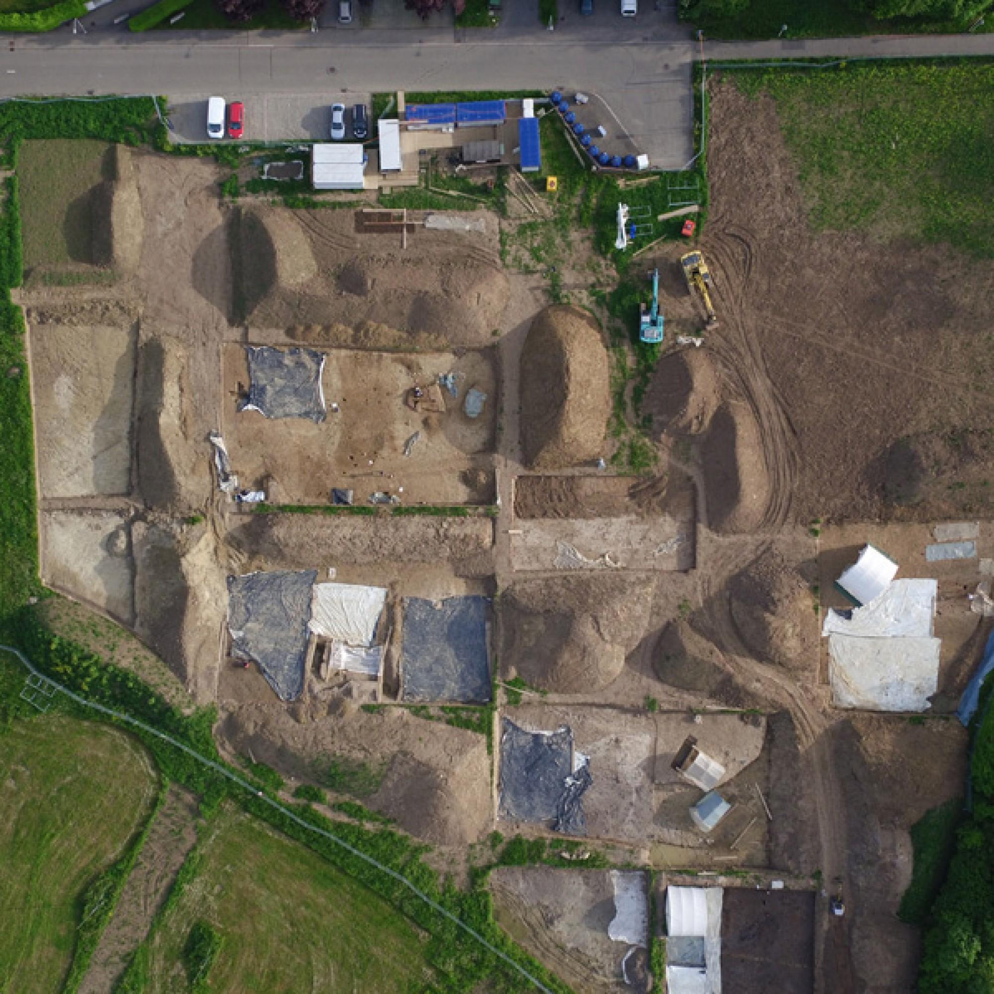 Luftaufnahme der Grabung (zvg)