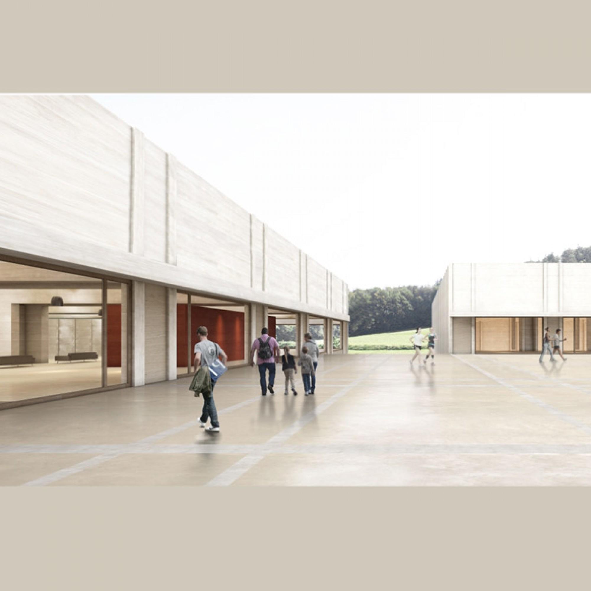 Aussenansicht der Schwimm- und Sporthalle auf dem Campus Sursee (Visualisierungen zvg)