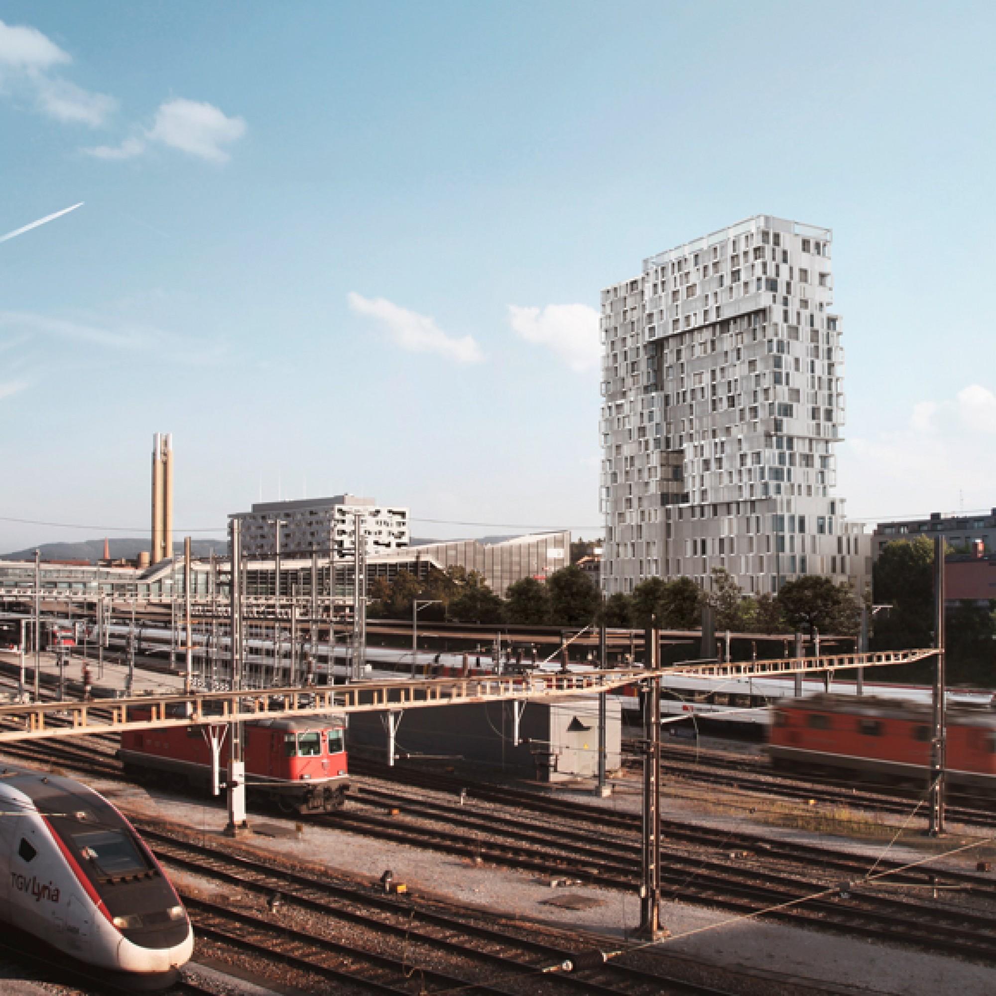 Wer dereinst mit dem Zug nach Basel fährt, wird den Turm schon Weitem sehen. (SBB) 1/4