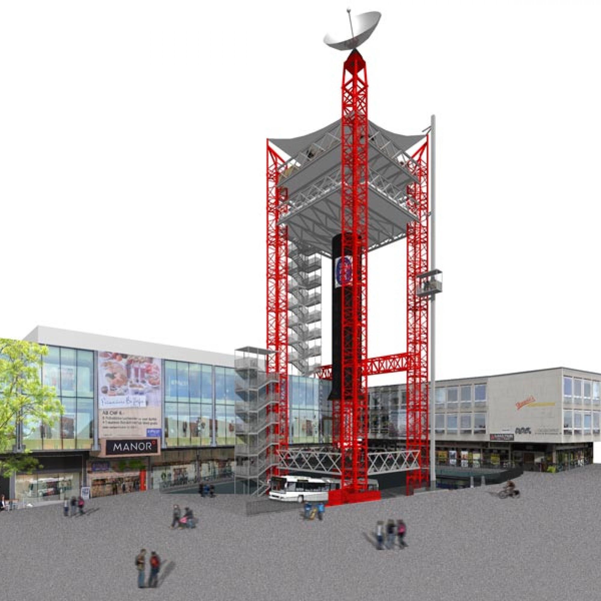 Mit 42 Metern soll die Festbeiz der  Ehrendinger Vereine alle anderen Projekte weitaus überragen. (Visualisierung: zvg)