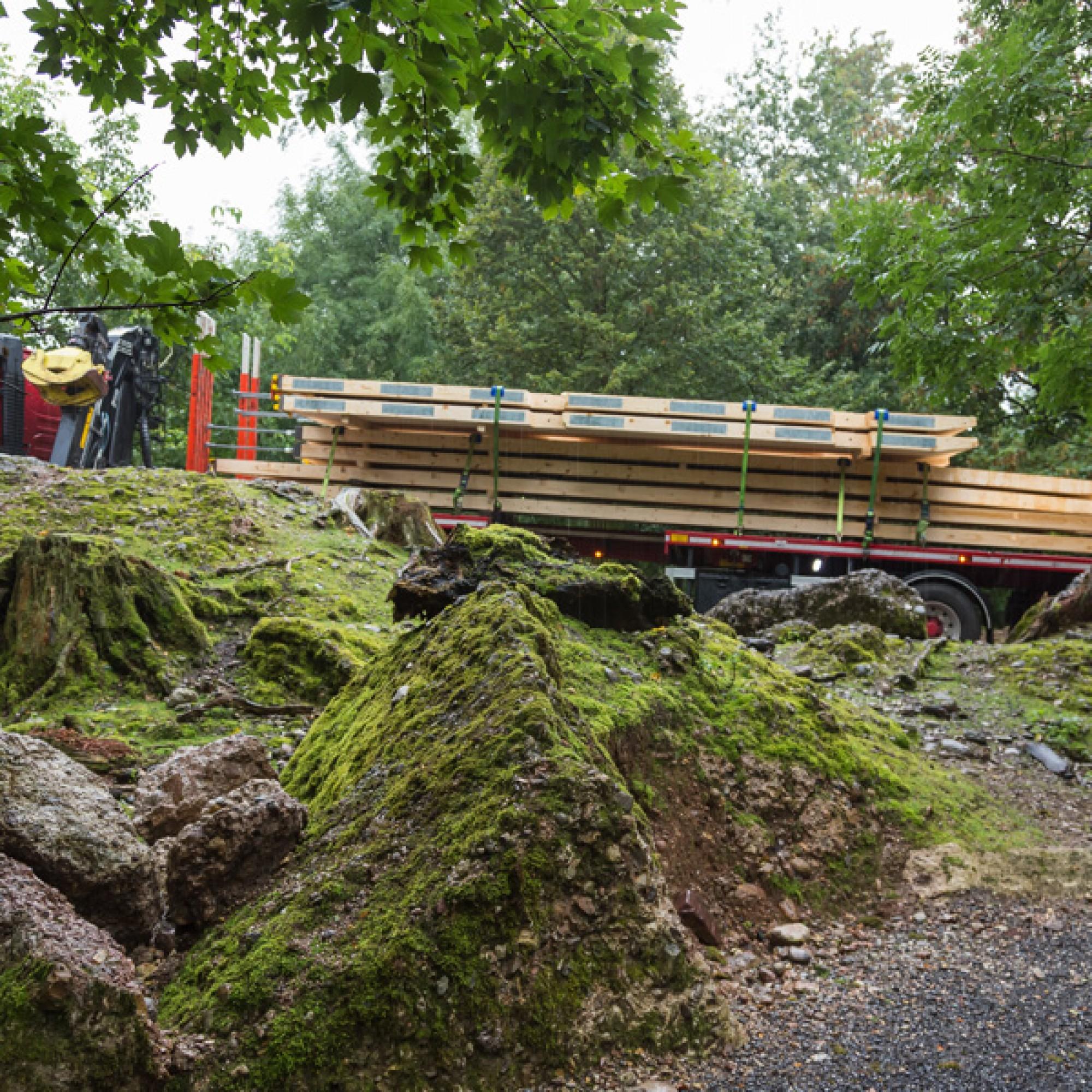 Die Holzelemente werden durch den Tierpark Goldau zur Baustelle transportiert. (zvg)