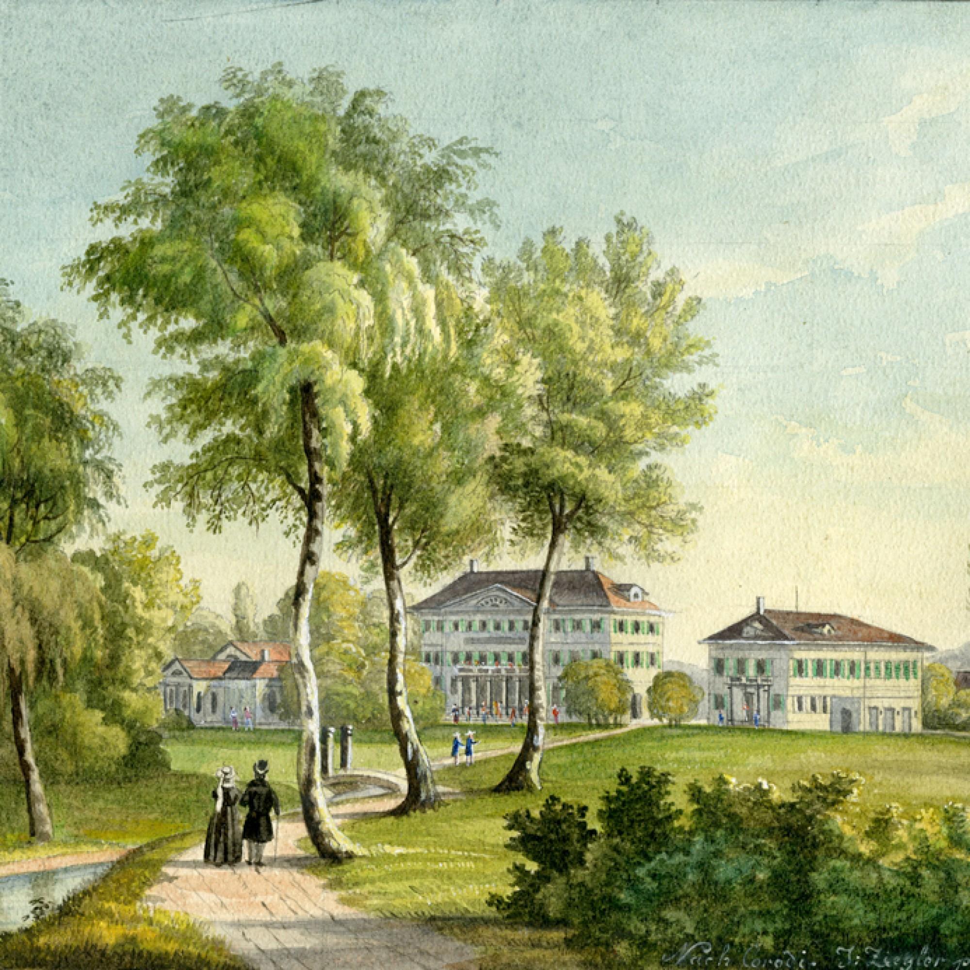 Der Winterthurer Adlerpark auf einer Darstellung von 1840. (winbib)