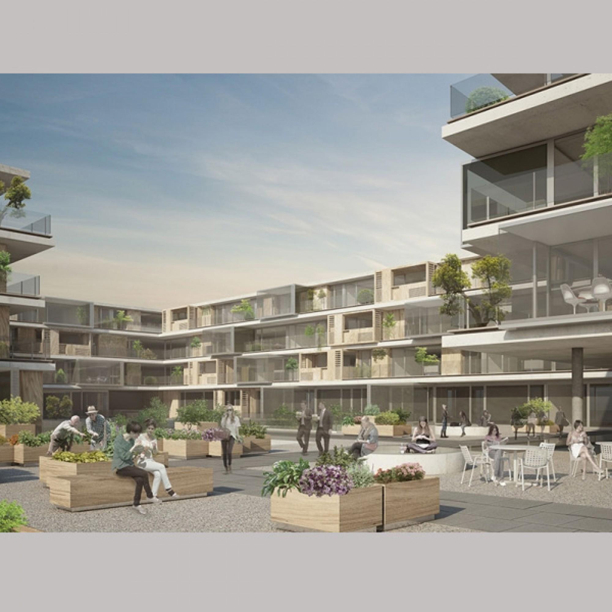 Nebst Verkaufs- und Büroflächen sind im neuen Gebäudekomplex auch 75 Mietwohnungen geplant.