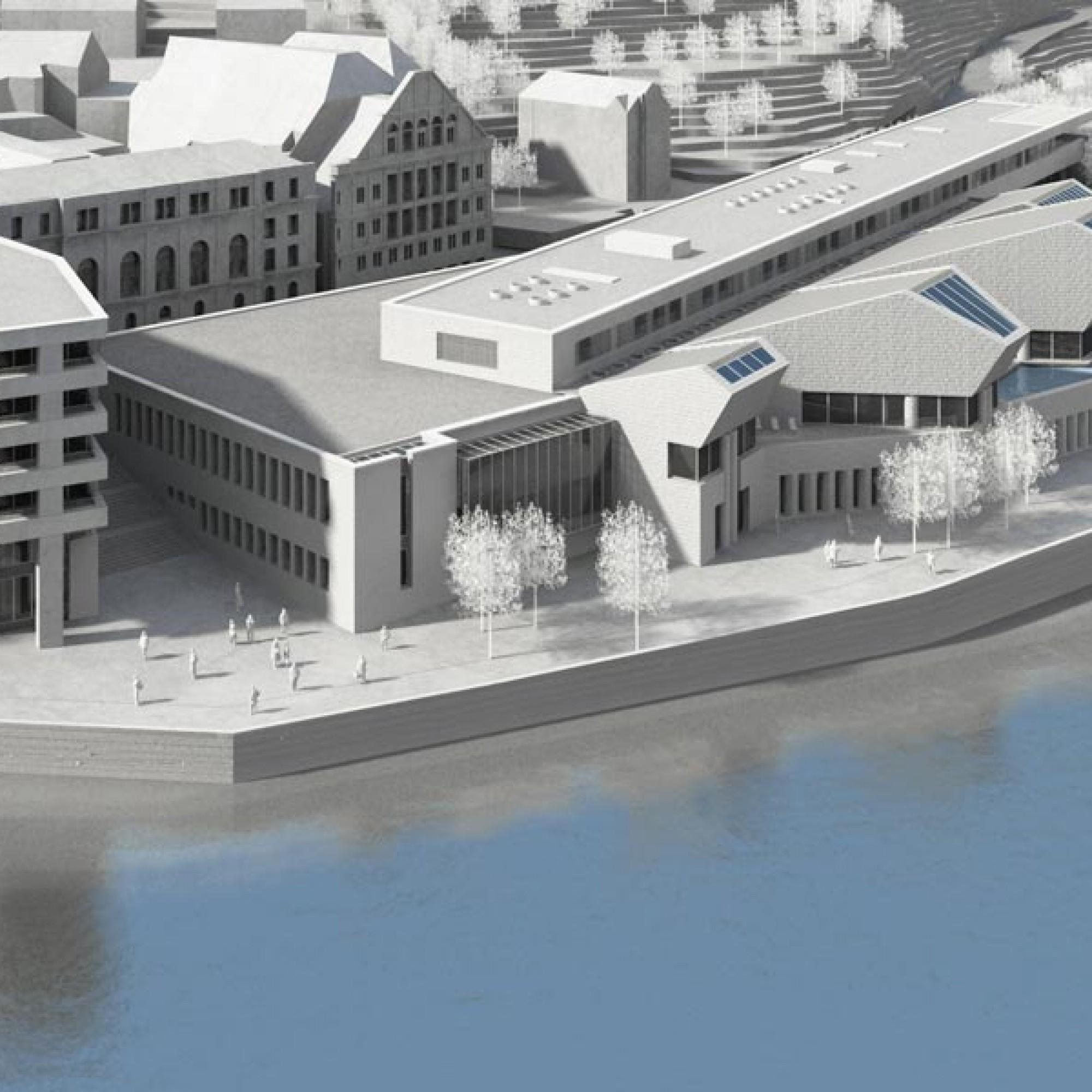 Das neue Thermalbad erstreckt sich am Ufer des Limmatknies. (Visualisierungen: Mario Botta Architetto)