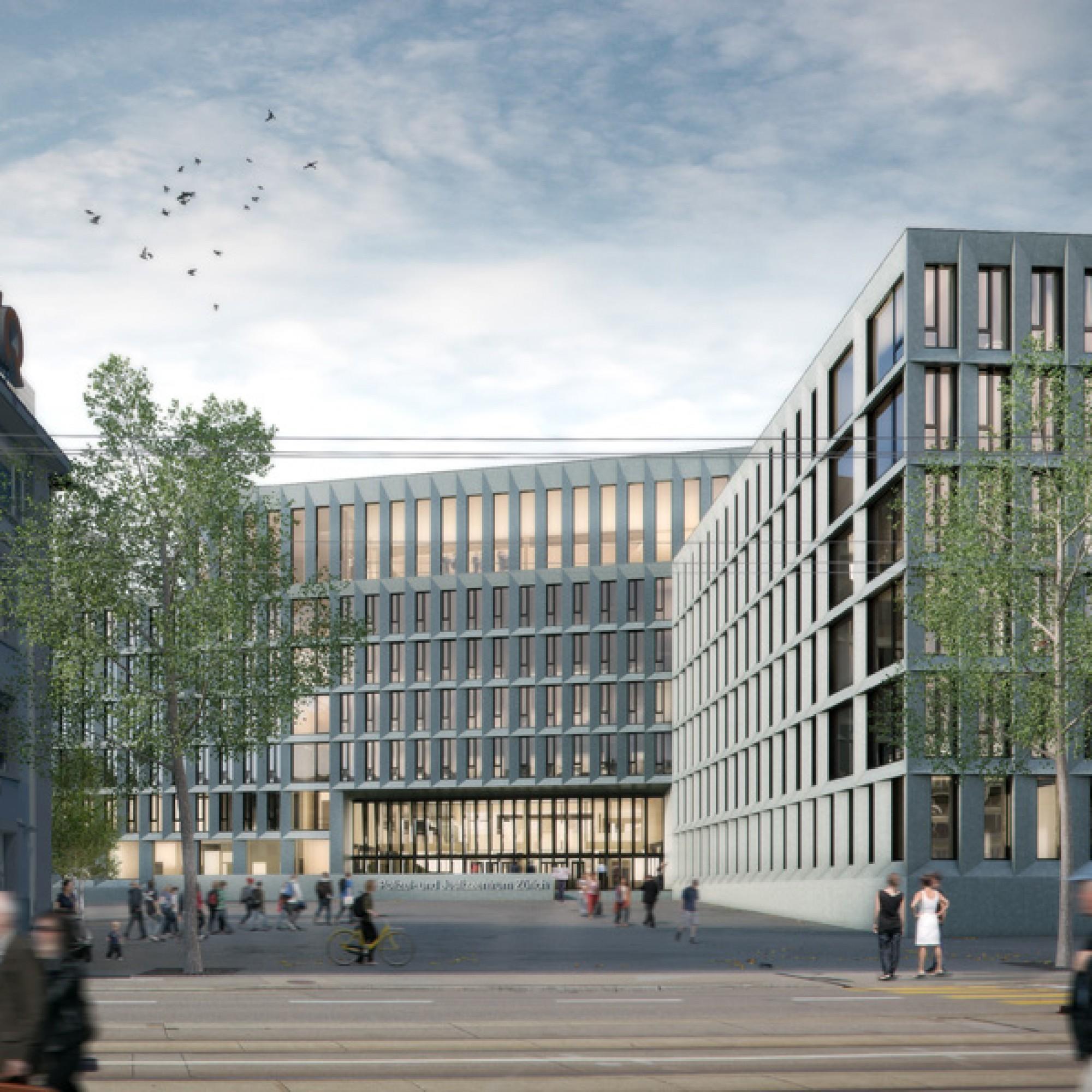 Der Haupteingang des künftigen PJZ. (Hochbaudepartement Kanton Zürich)