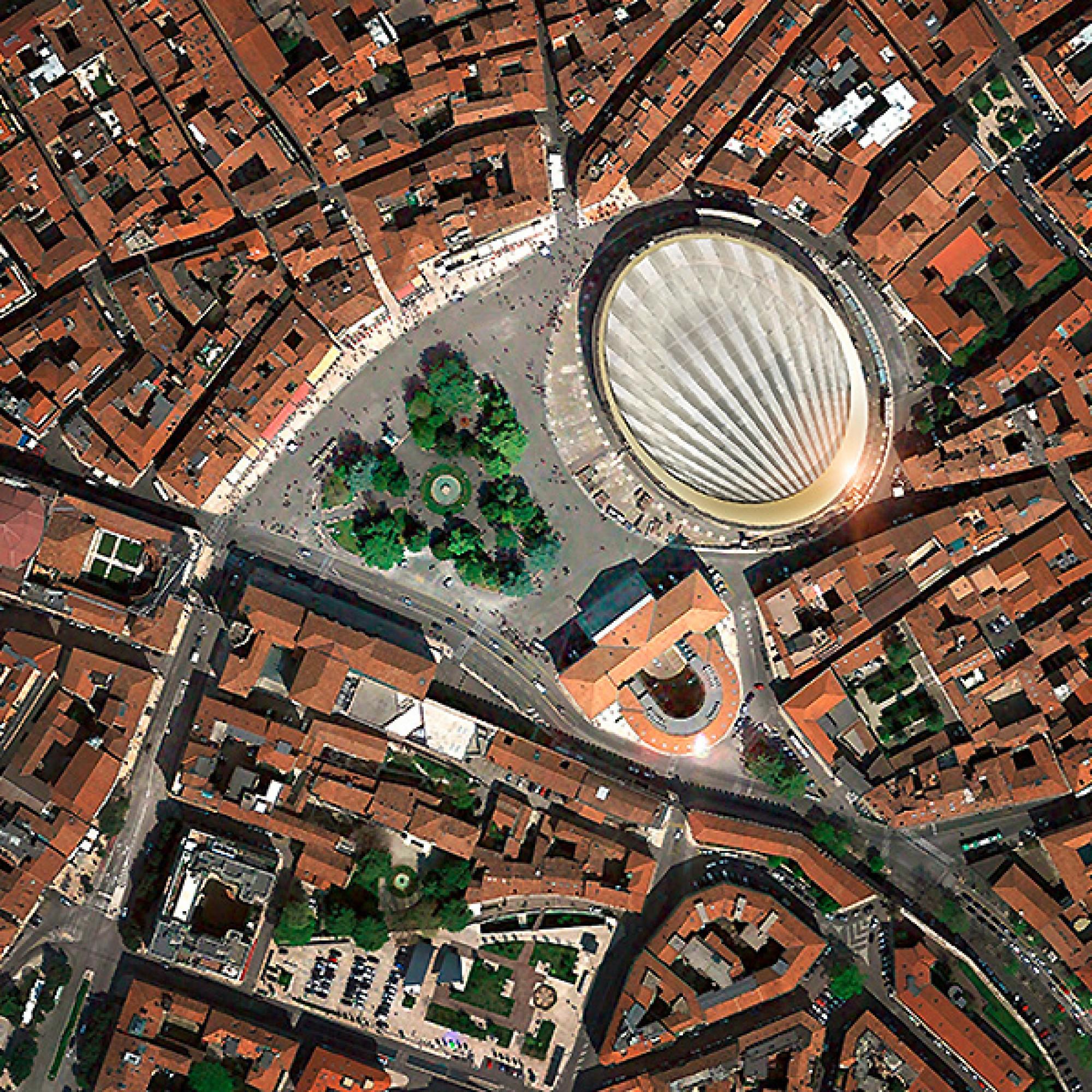 Ein Dach wie ein Fächer: die Überdachung aus der Vogelperspektive. (zvg)