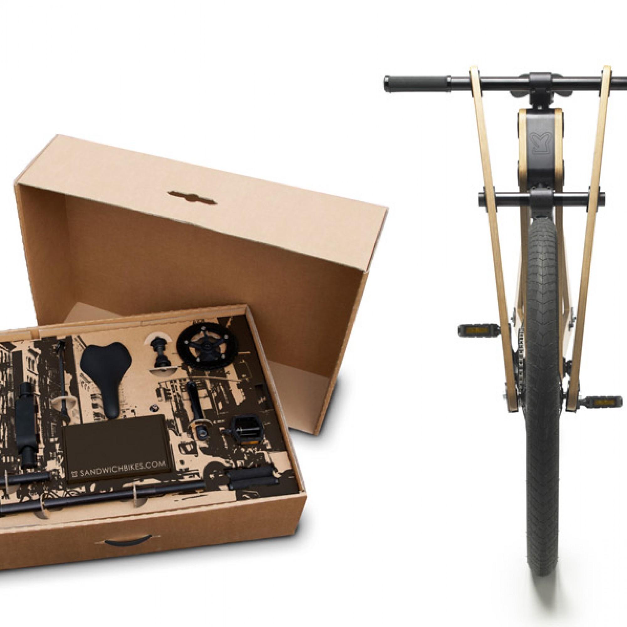 Do-it-yourself-Bausatz für Sandwichbike aus Holz. Die Do-it-yourself-Welle hat auch die Fahrradfahrer erfasst. Der Bausatz wird in einer Schachtel per Post nach Hause geliefert und kann ohne zusätzliches Werkzeug montiert werden.