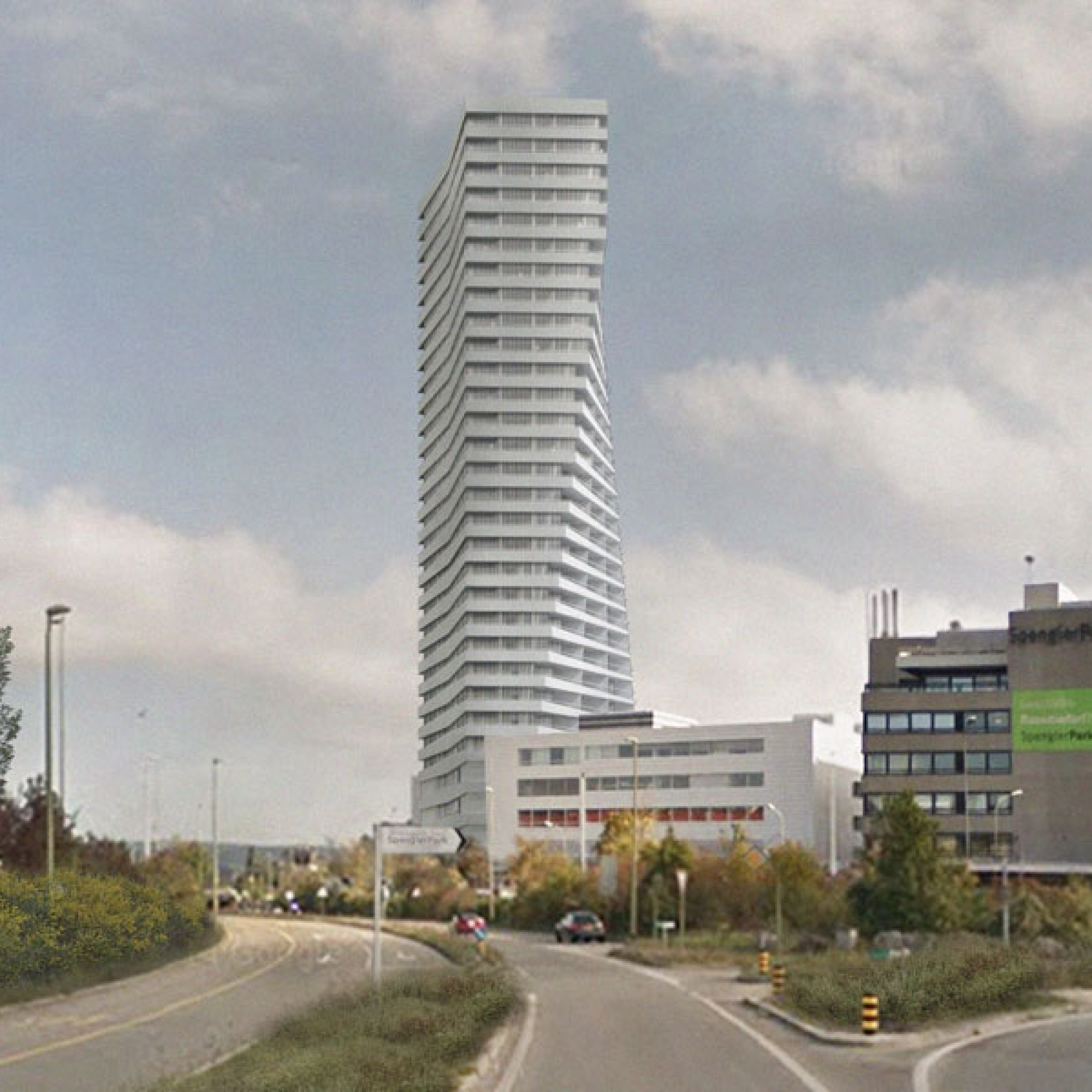 Auf der Visualisierung wird sichtbar, wie sich die Gebäudeform mit zunehmender Höhe wandeln soll (zvg)