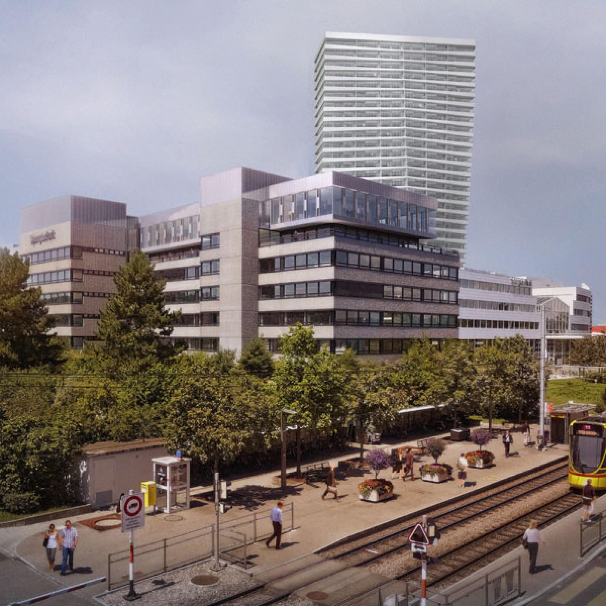 Die Visualisierung zeigt im Vordergrund die Tramstation, dahinter den Spenglerpark mit dem geplanten Hochhaus (zvg)