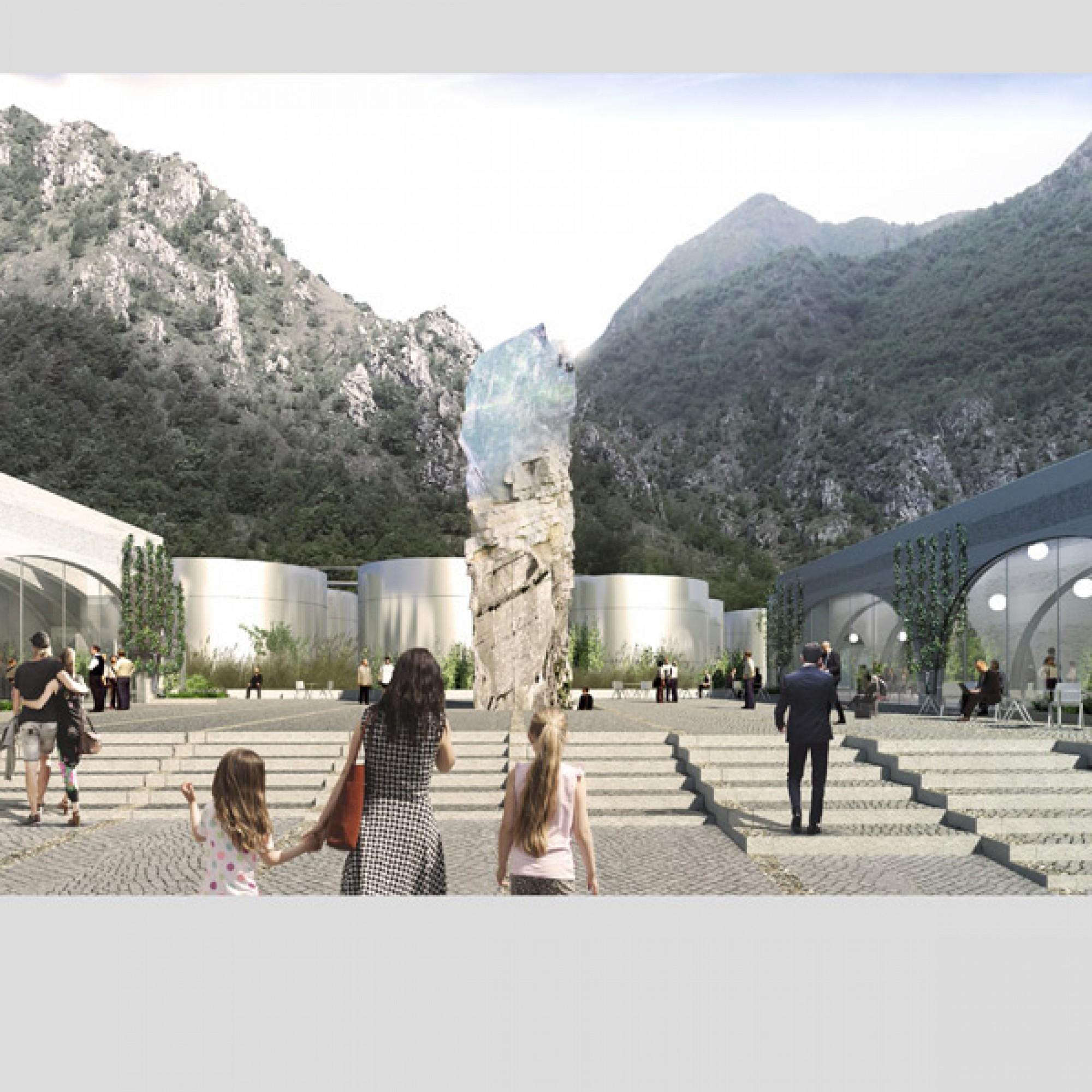 Anleihen bei der Architektur der Umgebung: Eine Piazza bietet Ausblick auf die bergige Umgebung. (zvg)