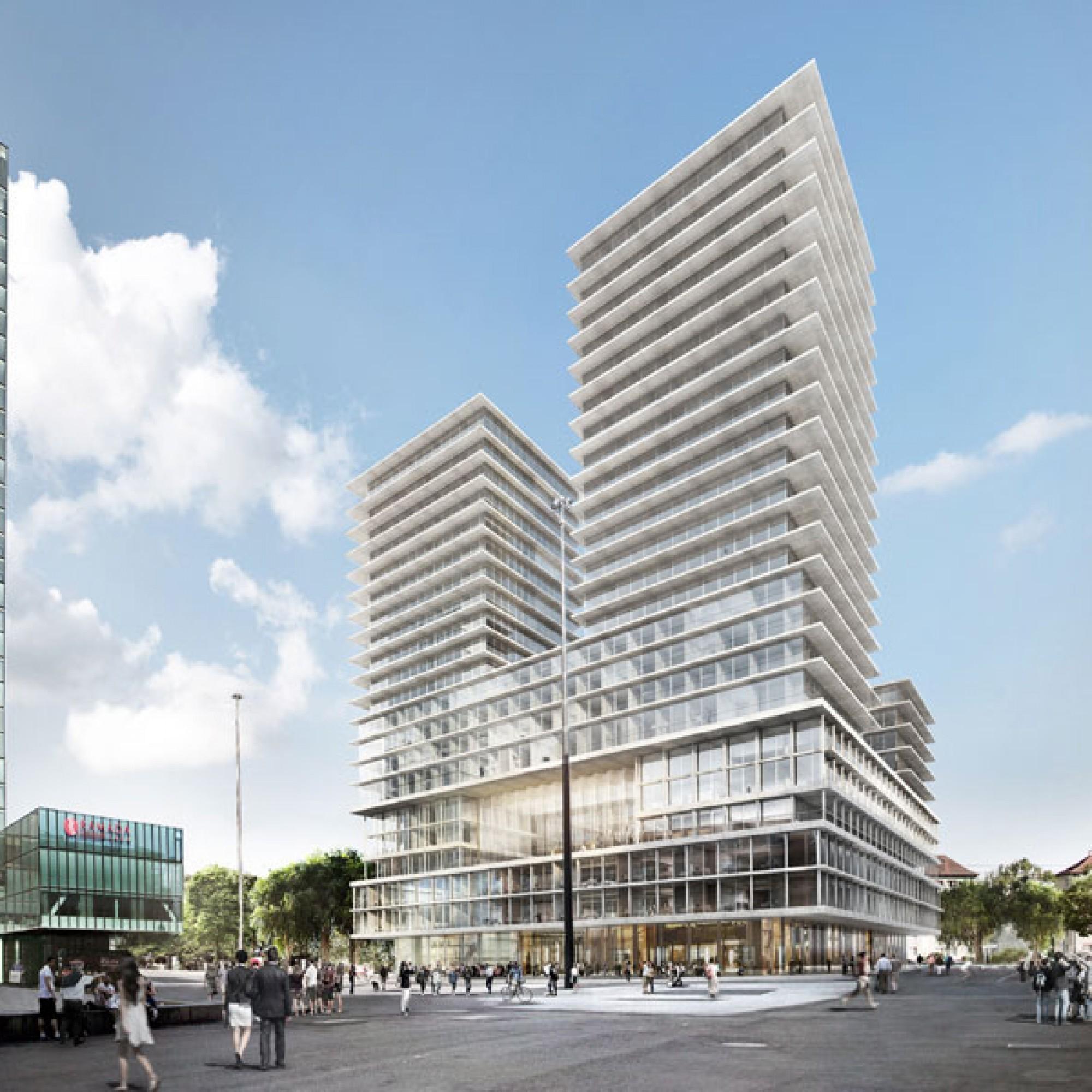 Der Entwurf von Herzog & de Meuron für das neue Hochhaus (Mitte). Links der bestehende Turm (Messe Basel)