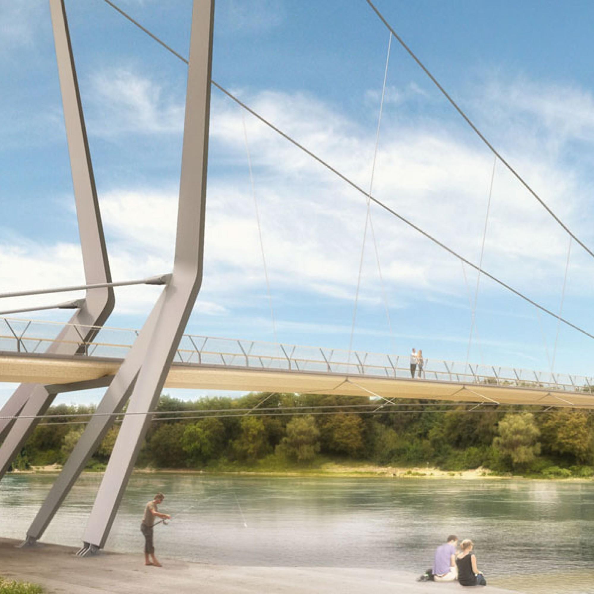 So könnte der Rheinsteg mit der umstrittenen Tragseilkonstruktion aussehen (zvg)