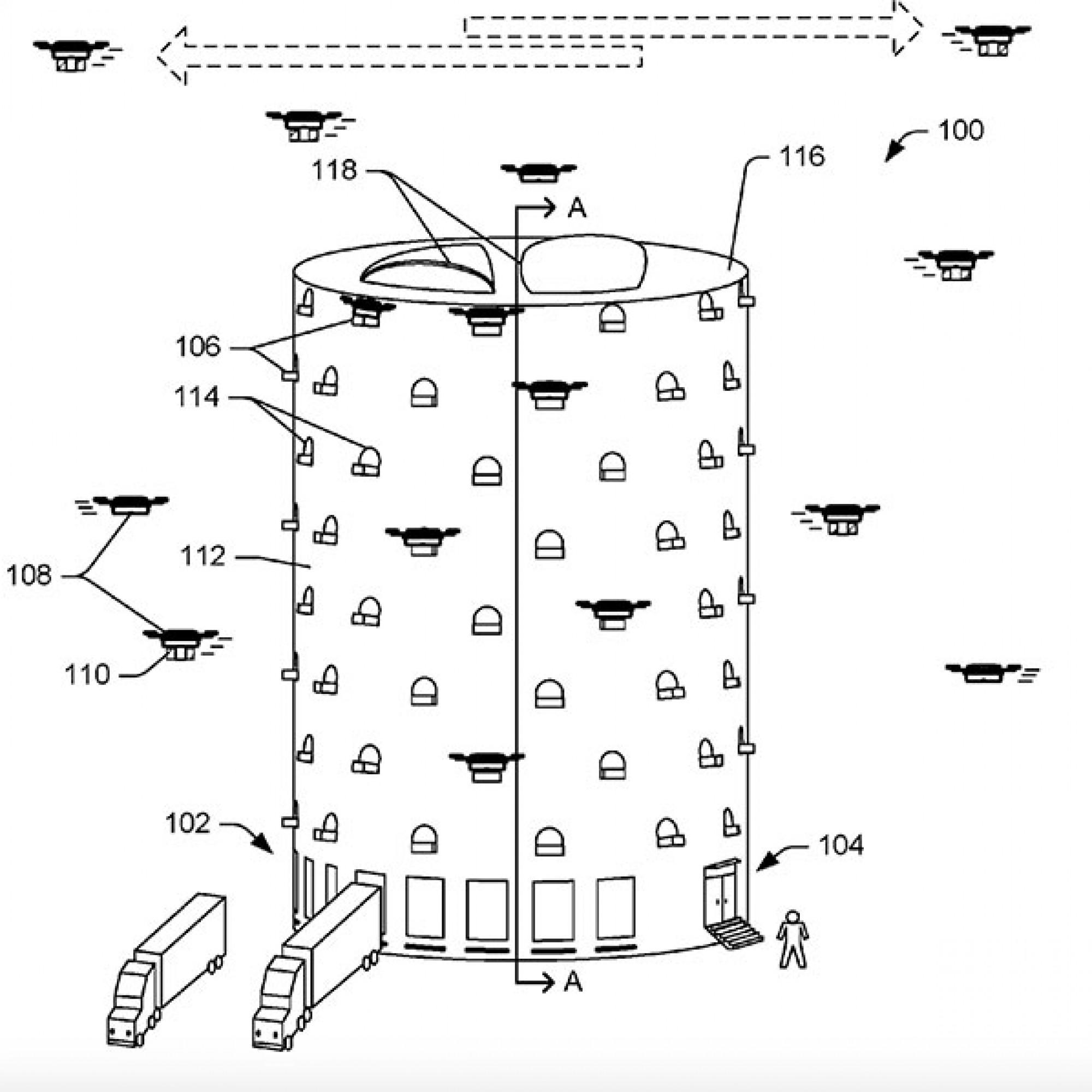 Damit fleissige Dronen ausschwärmen: der Dronenturm von Amazon. (United States Patent and Trademark Office)