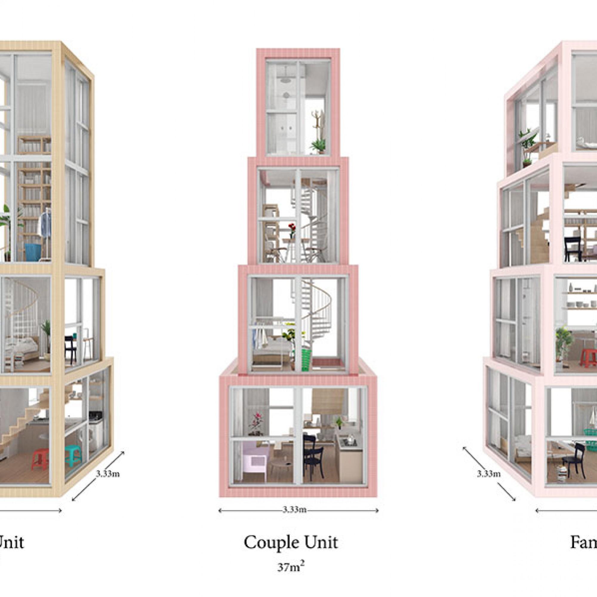 So lässt sich Wohnraum für unterschiedlichste Bedürfnisse schaffen. (Visualisierung (Kwong Von Glinow / beebreeders.com)