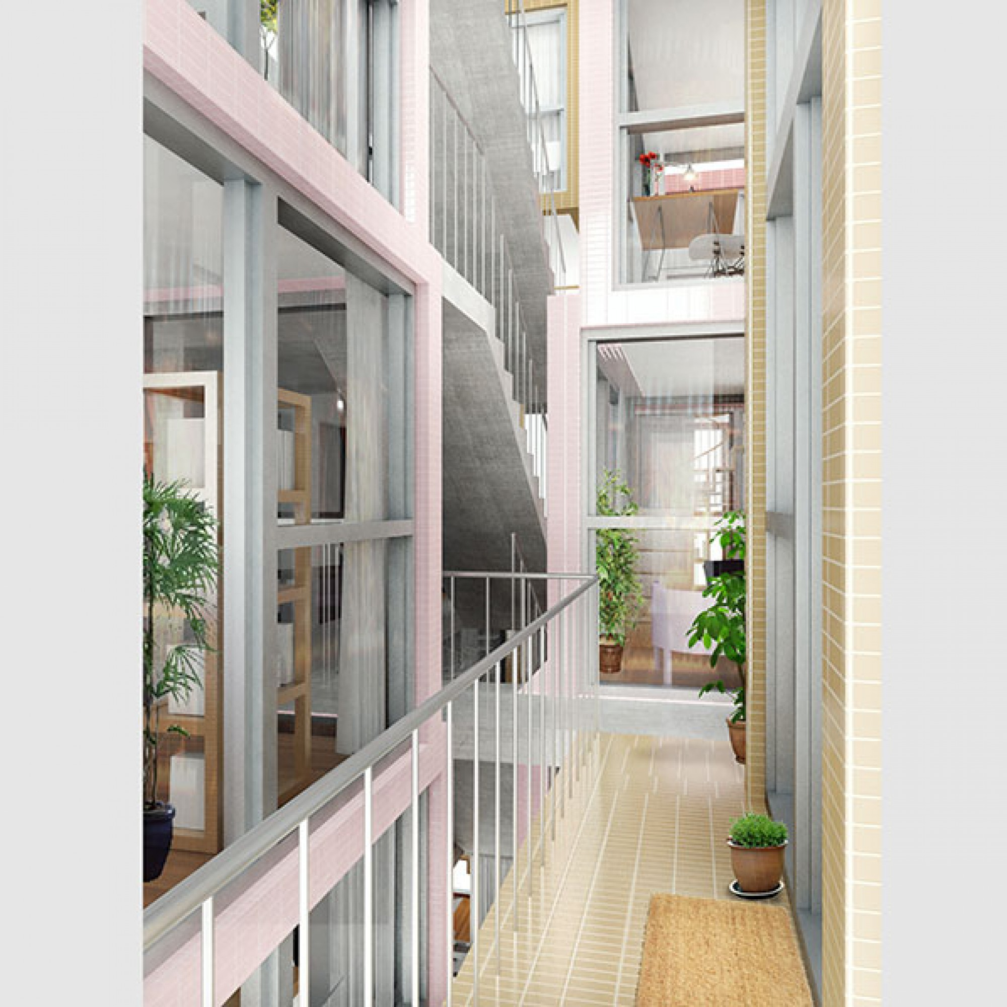 Im Innern des Wohngebäudes sorgen die Wohntürme für spannenden Durchblicke... (Visualisierung (Kwong Von Glinow / beebreeders.com)