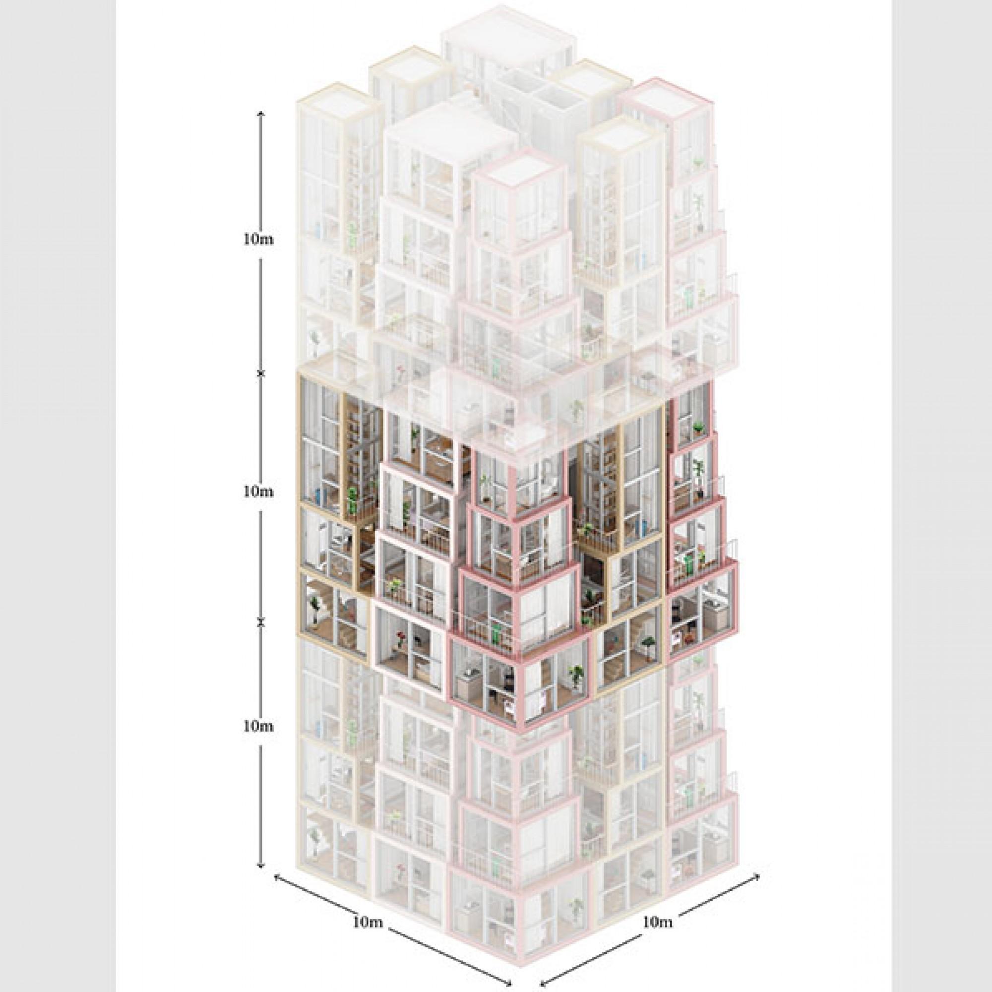So werden die einzelnen Wohnungen zusammengefügt.  (Visualisierung (Kwong Von Glinow / beebreeders.com)