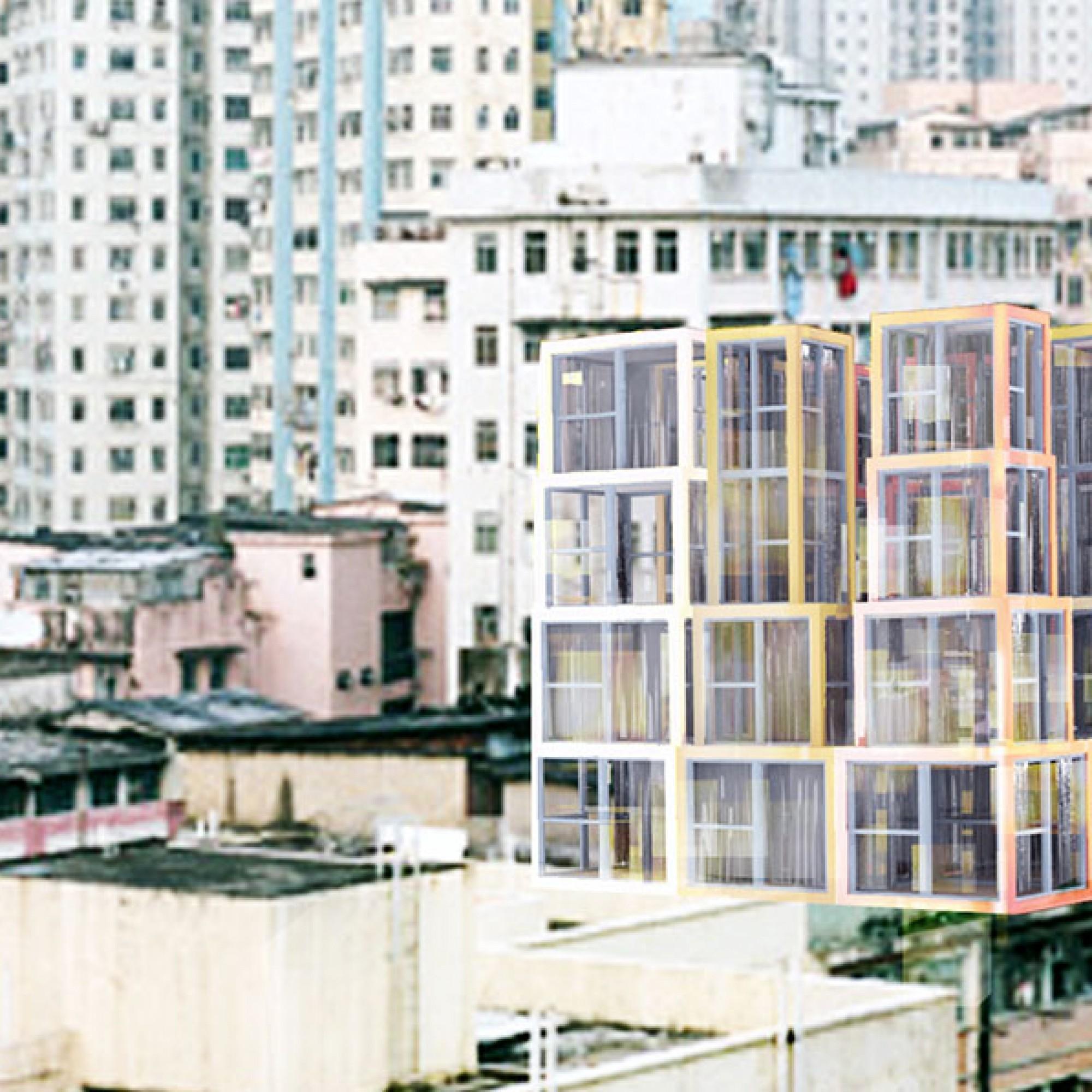 Mit dem Konzept wollen die Architekten für unterschiedlichste Bedürfnisse und Situationen bauen können. Sei es auf dem Dach...  (Visualisierung (Kwong Von Glinow / beebreeders.com)