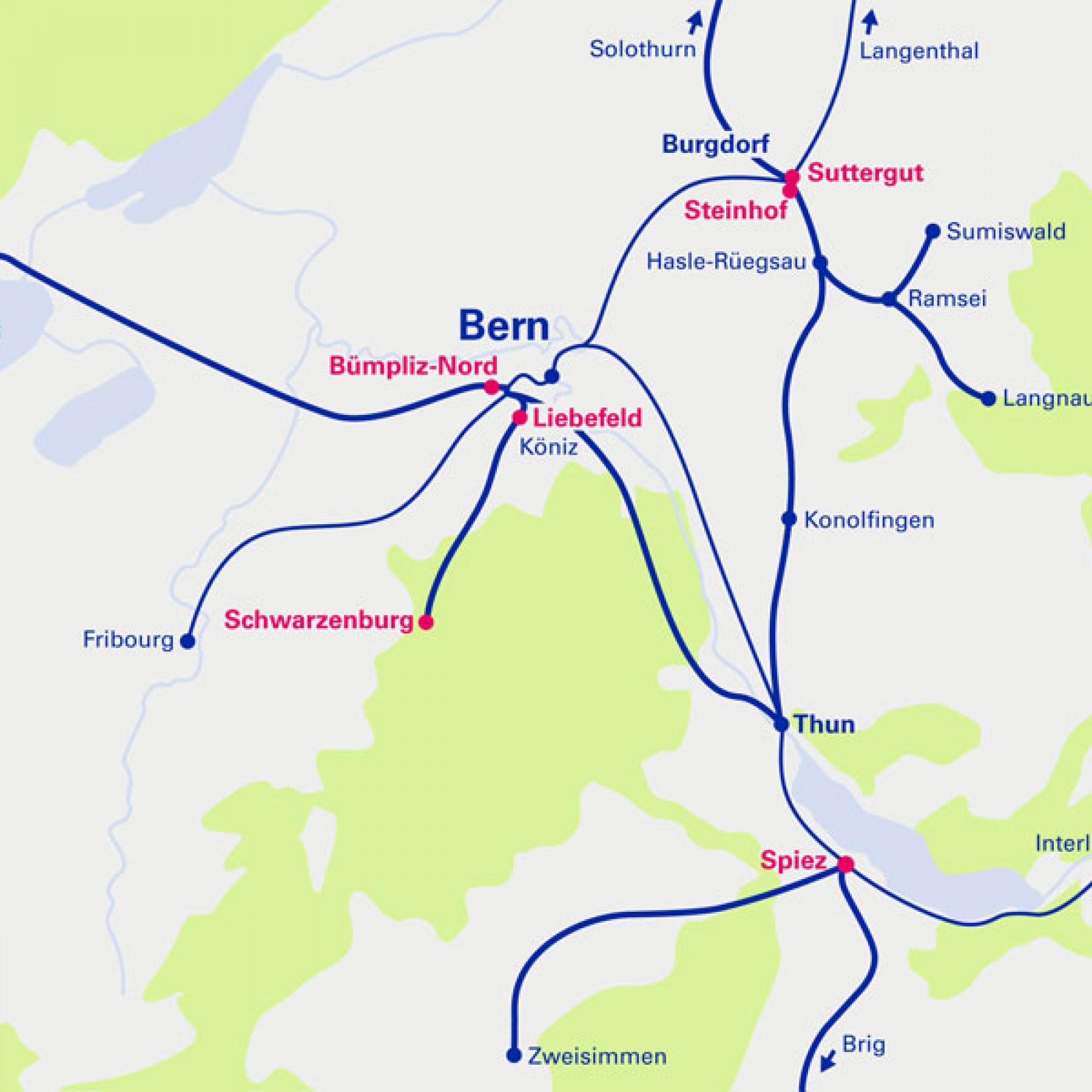 Für diese ehemaligen Bahnareale (pink eingefärbt) sieht die BLS AG Entwicklungspotenzial. (Grafik zvg)
