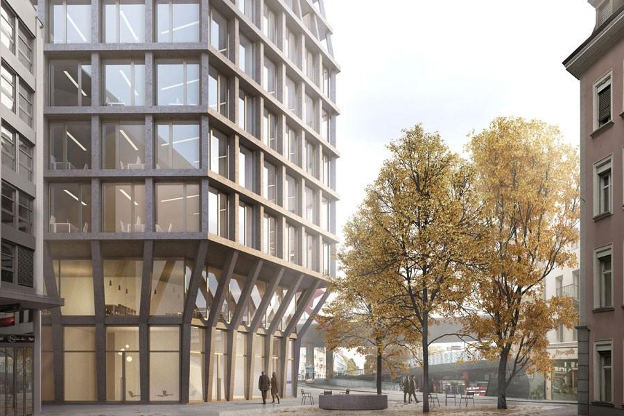 Visualisierung neues Hochhaus Basler Heuwaage