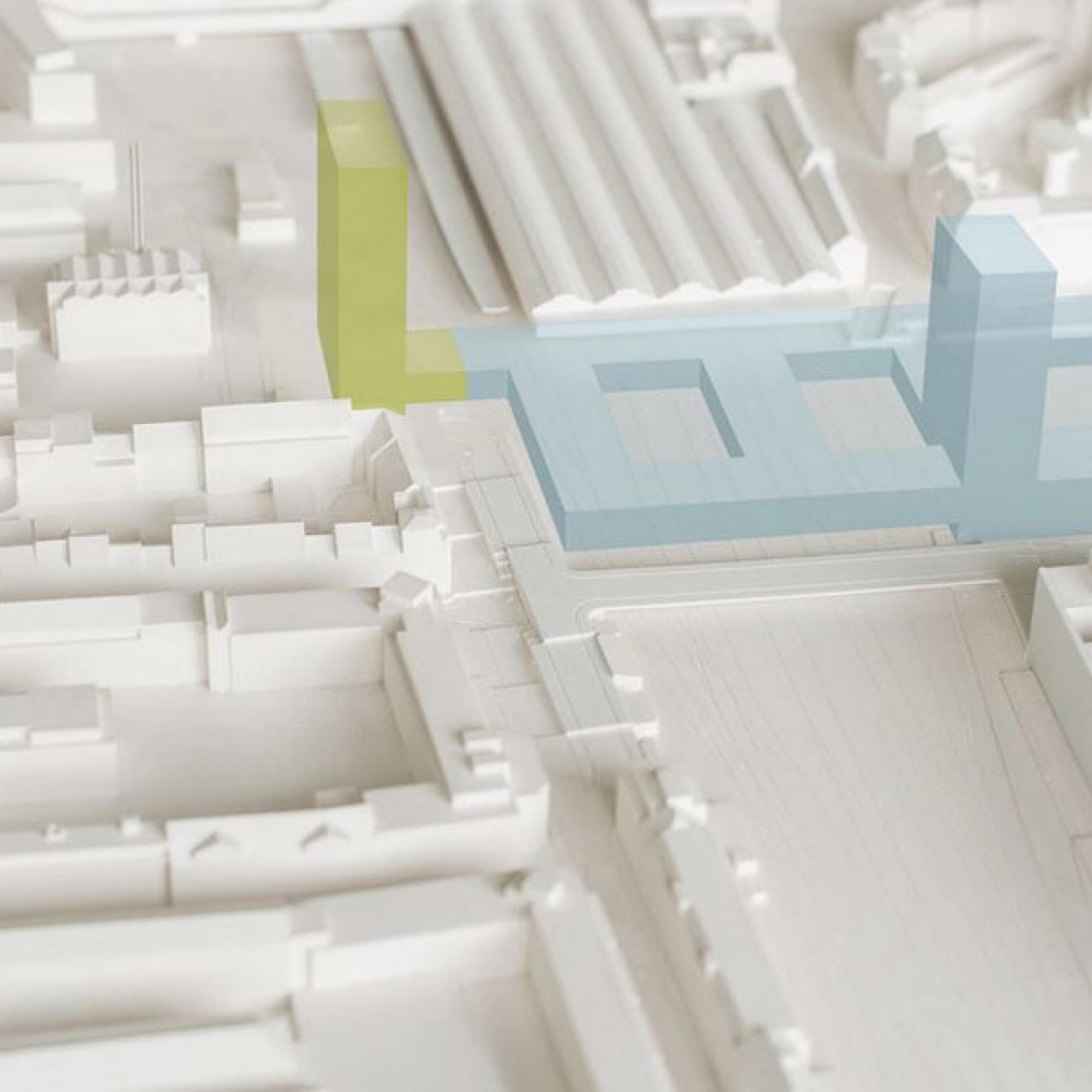Visualisierung der neuen Überbauung mit drei Hochhäusern