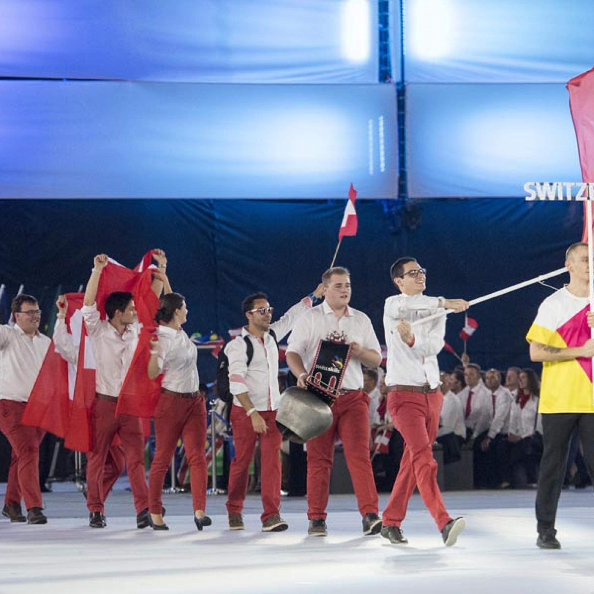 Einmarsch des Schweizer Teams zur Eröffnungsveranstaltung.
