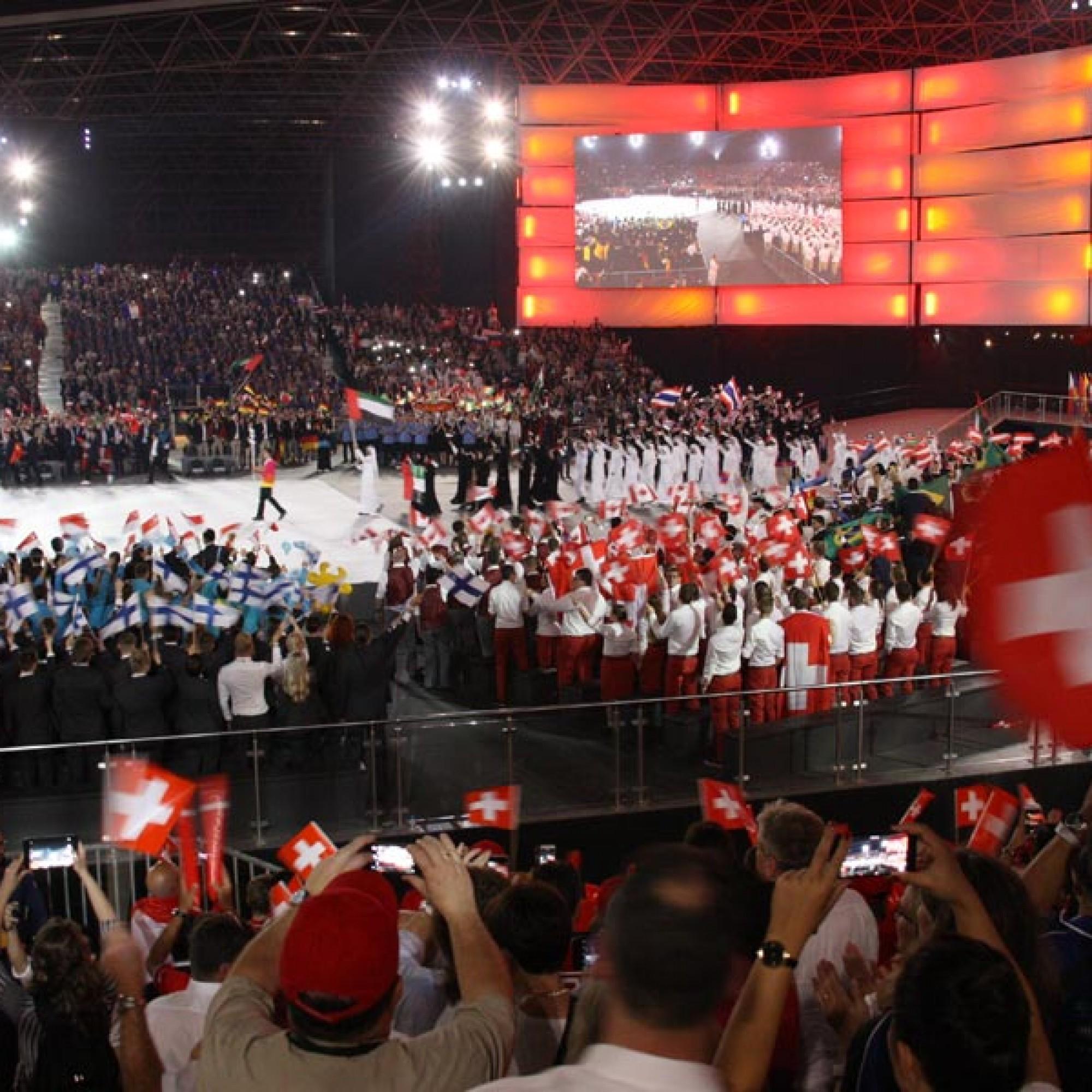 Eröffnungsfeier der Worldskills in Abu Dhabi am Samstag.