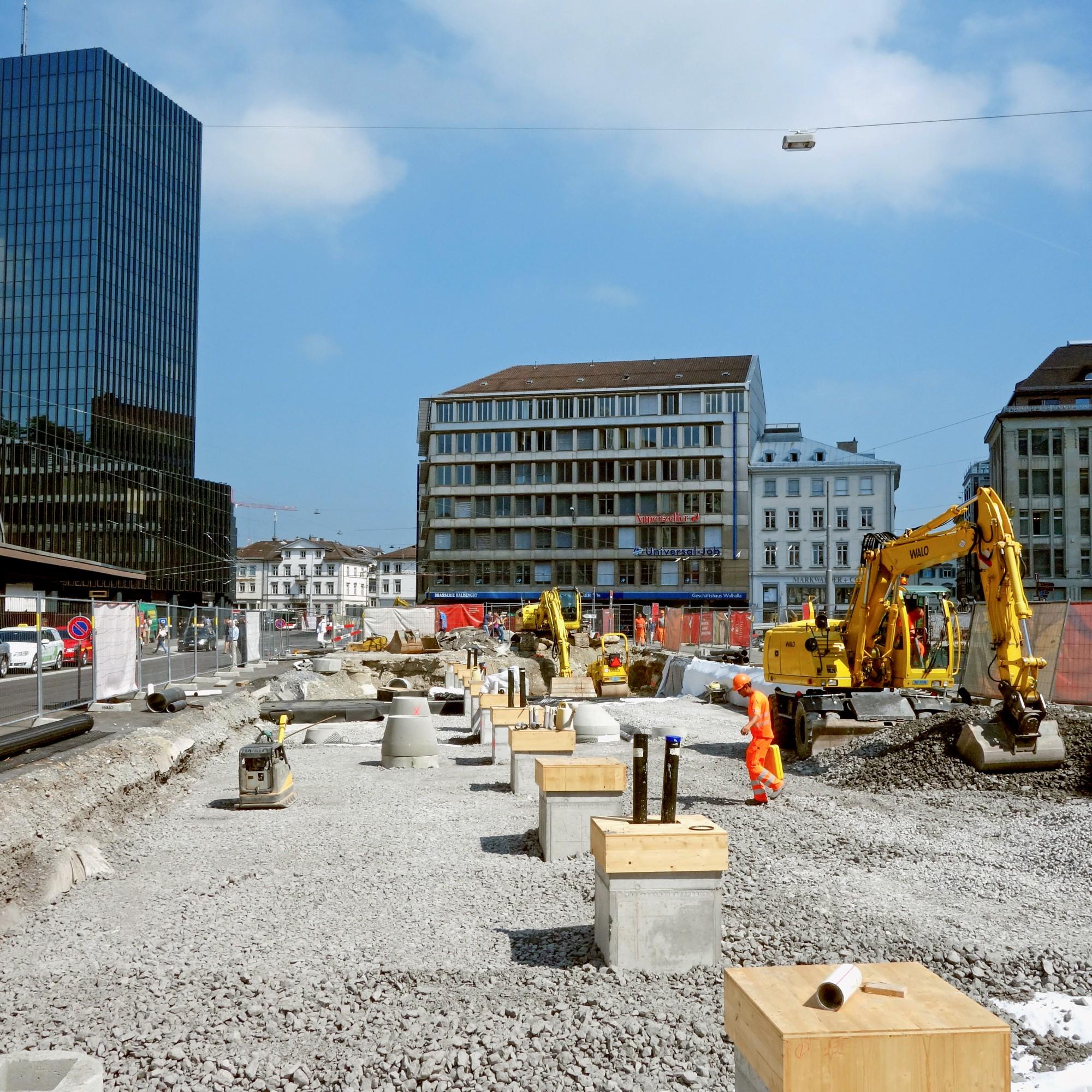 Grossbaustelle St.Gallen: Rund um den Bahnhof St.Gallen wird alles neu,  um die steigende Zahl an Passagieren  besser bewältigen zu können.