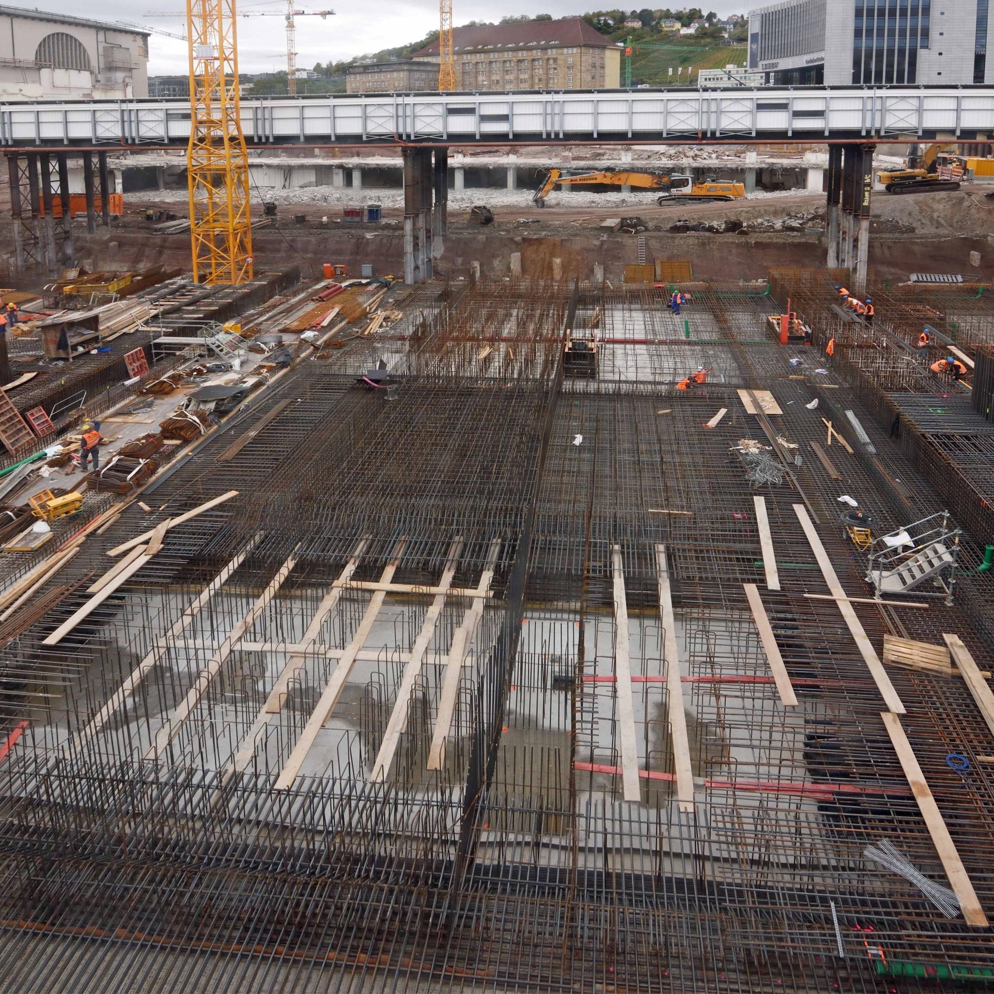 Stuttgart 21, Bauarbeiten am Hauptbahnhof im Oktober 2017.