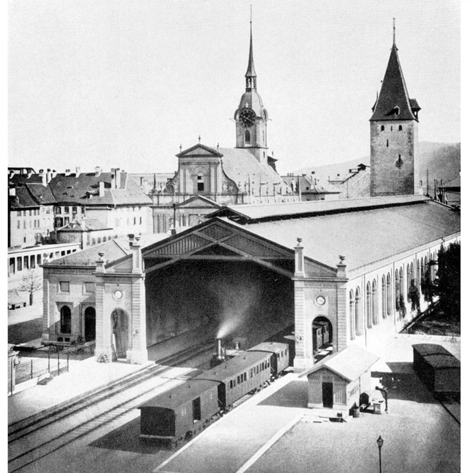 Die Einfahrt in den Bahnhof Bern im Jahre 1860.